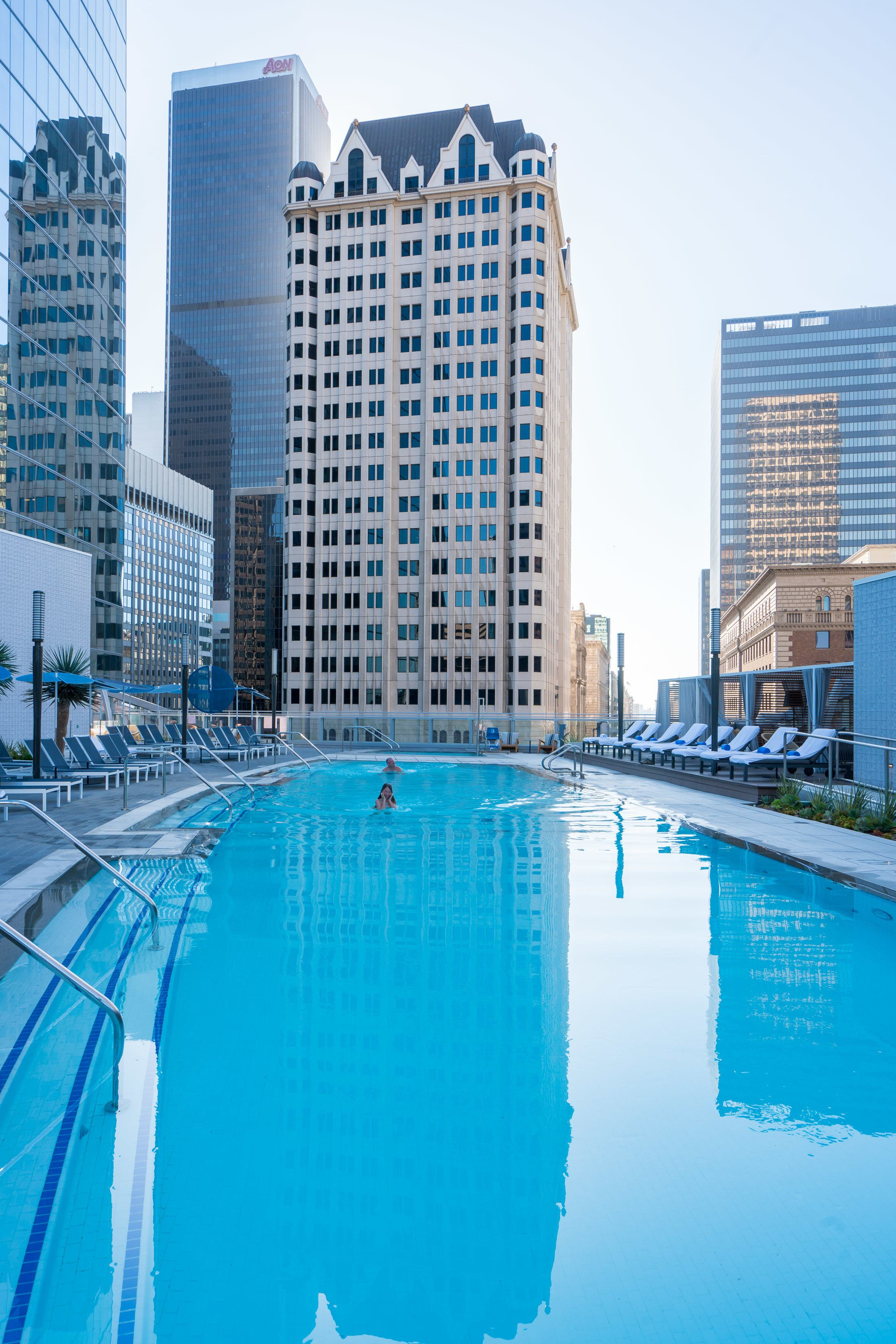 The pool at InterContinental Los Angeles Downtown.