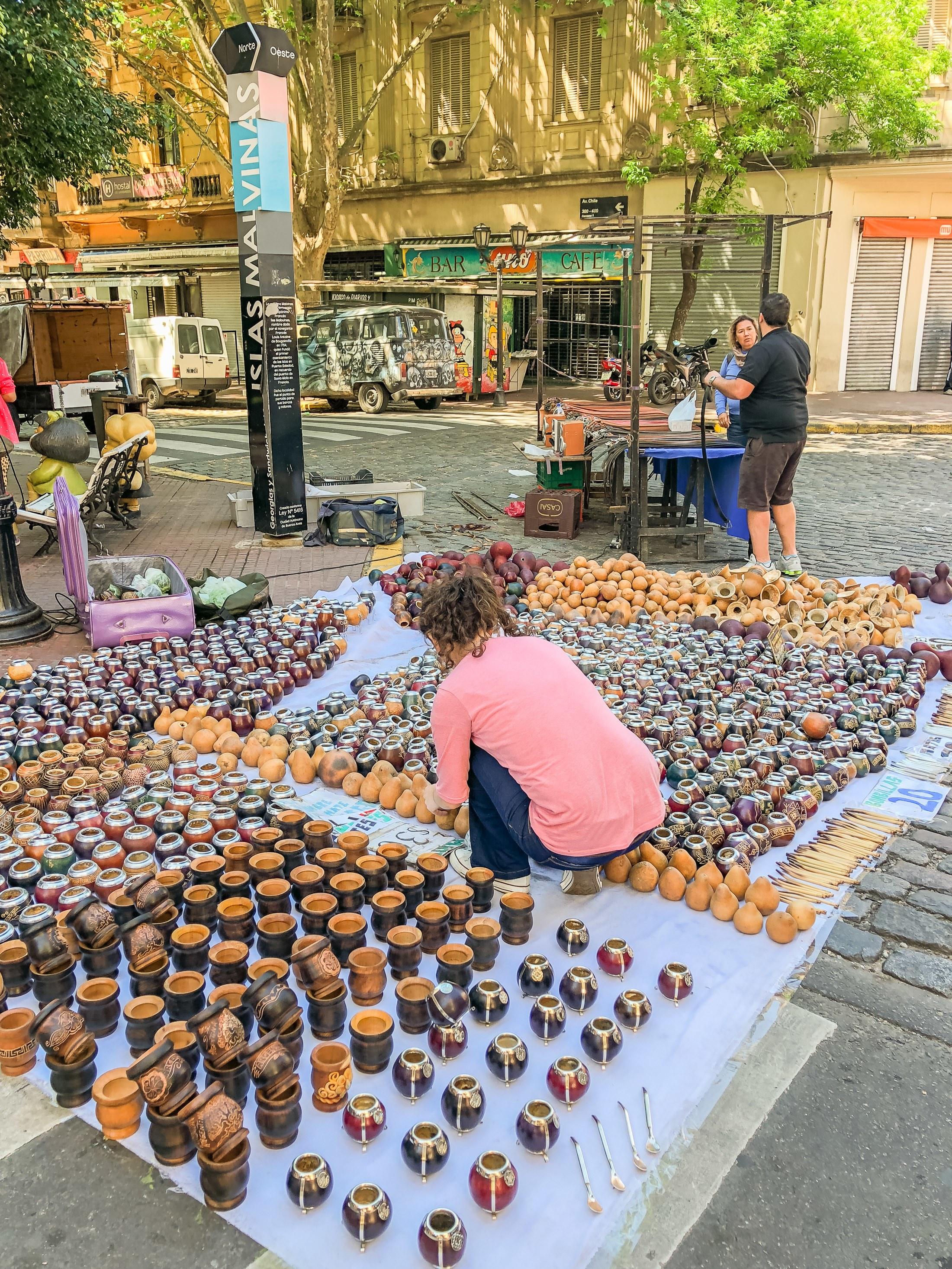 Mate tea gourds at the San Telmo Fair in Buenos Aires.