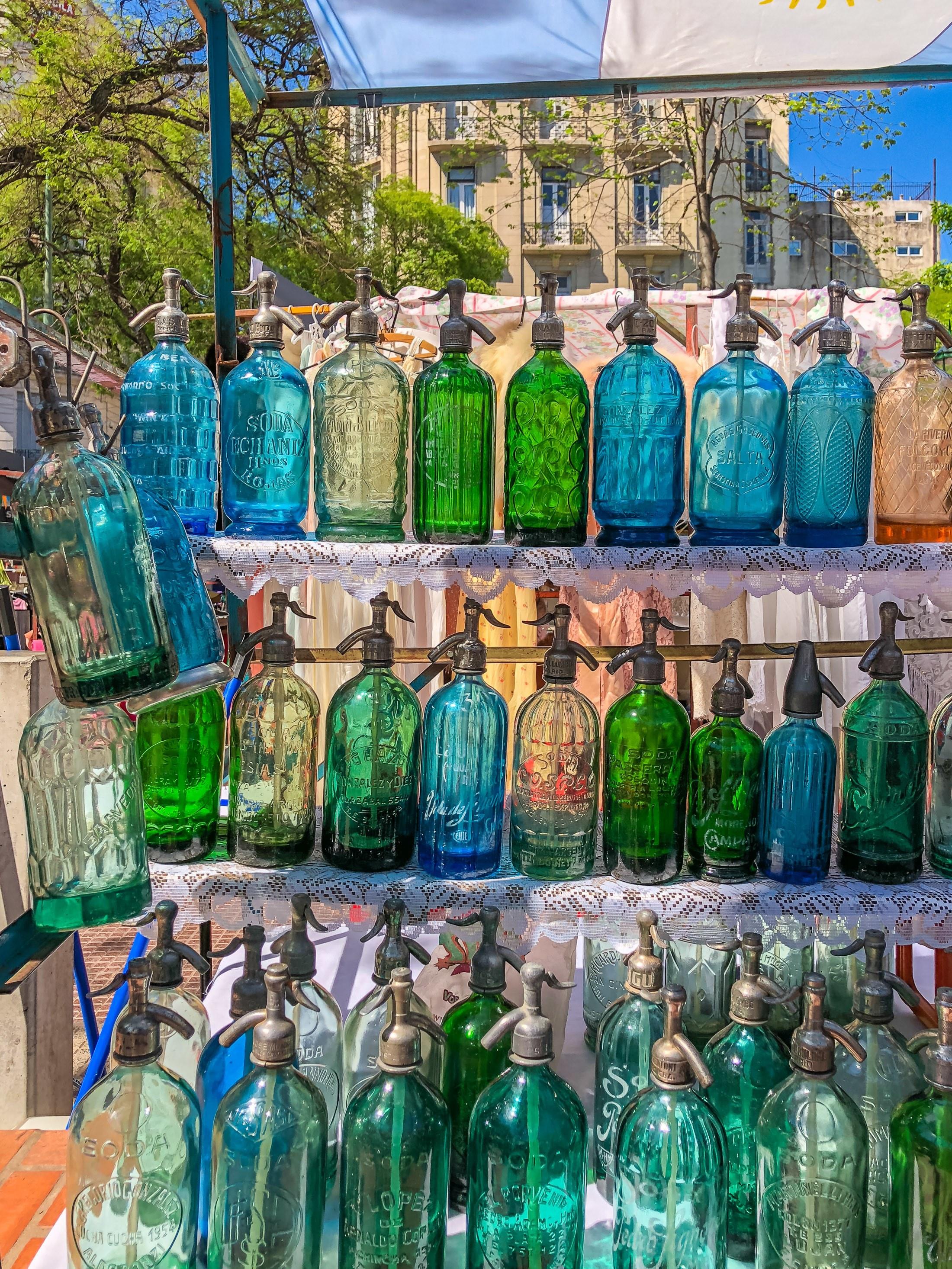 Seltzer bottles at the San Telmo Fair in Buenos Aires.