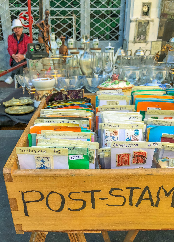 A vintage postage stamp vendor at the San Telmo Market in Buenos Aires.