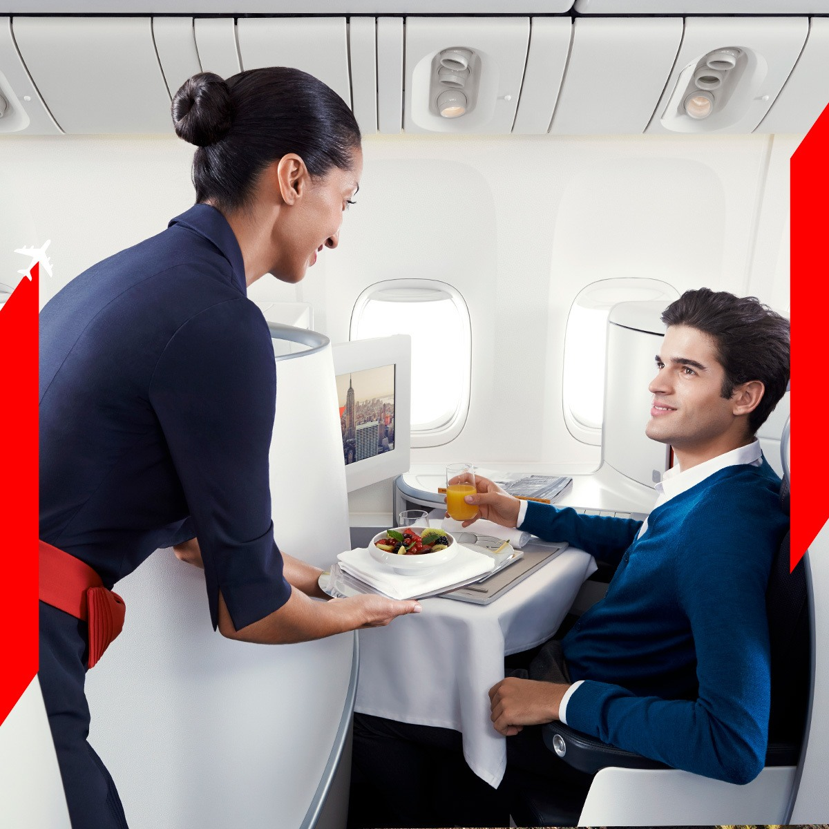 The sleek business class cabin on Air France.