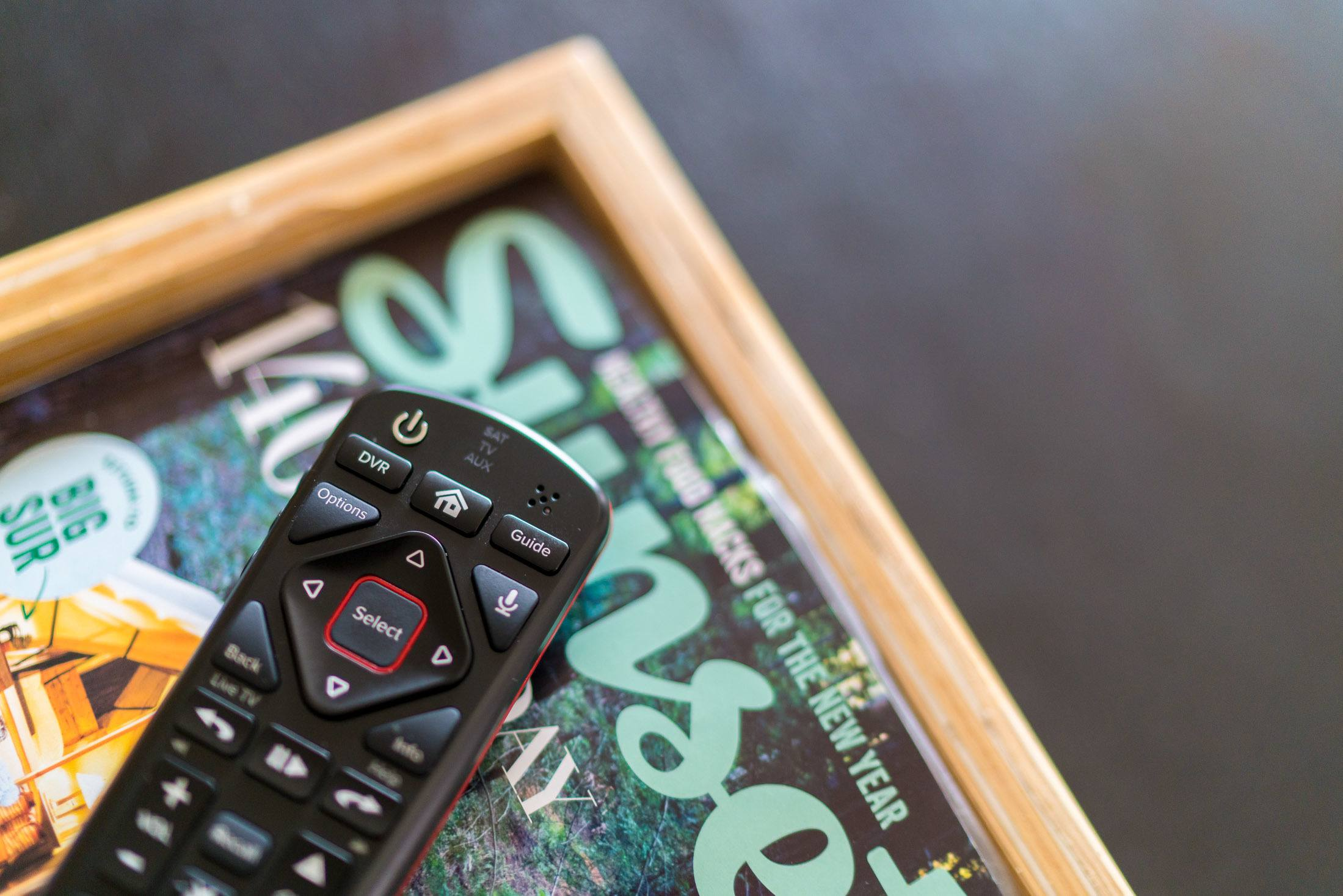 The DISH Voice Remote allows users to control the TV with their voices.