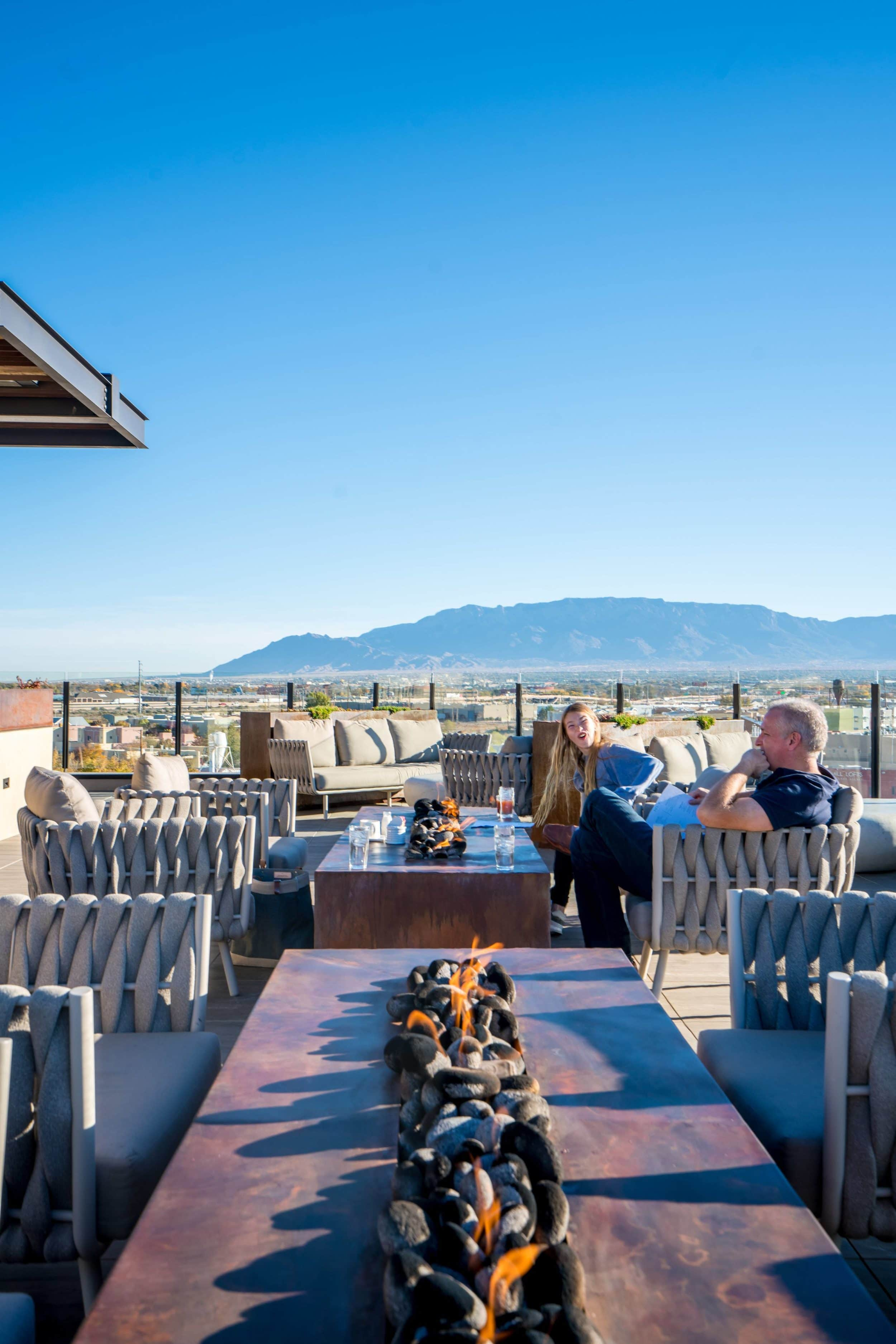Breakfast on the rooftop at Hotel Chaco in Albuquerque with a view of the Sandia Mountains.