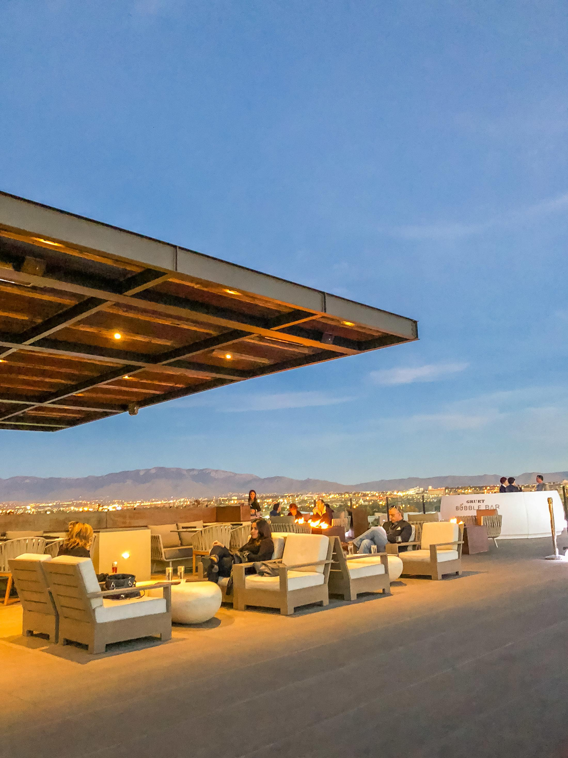 The rooftop restaurant is popular at sunset at Hotel Chaco in Albuquerque. Note the Sandia mountains in the background!