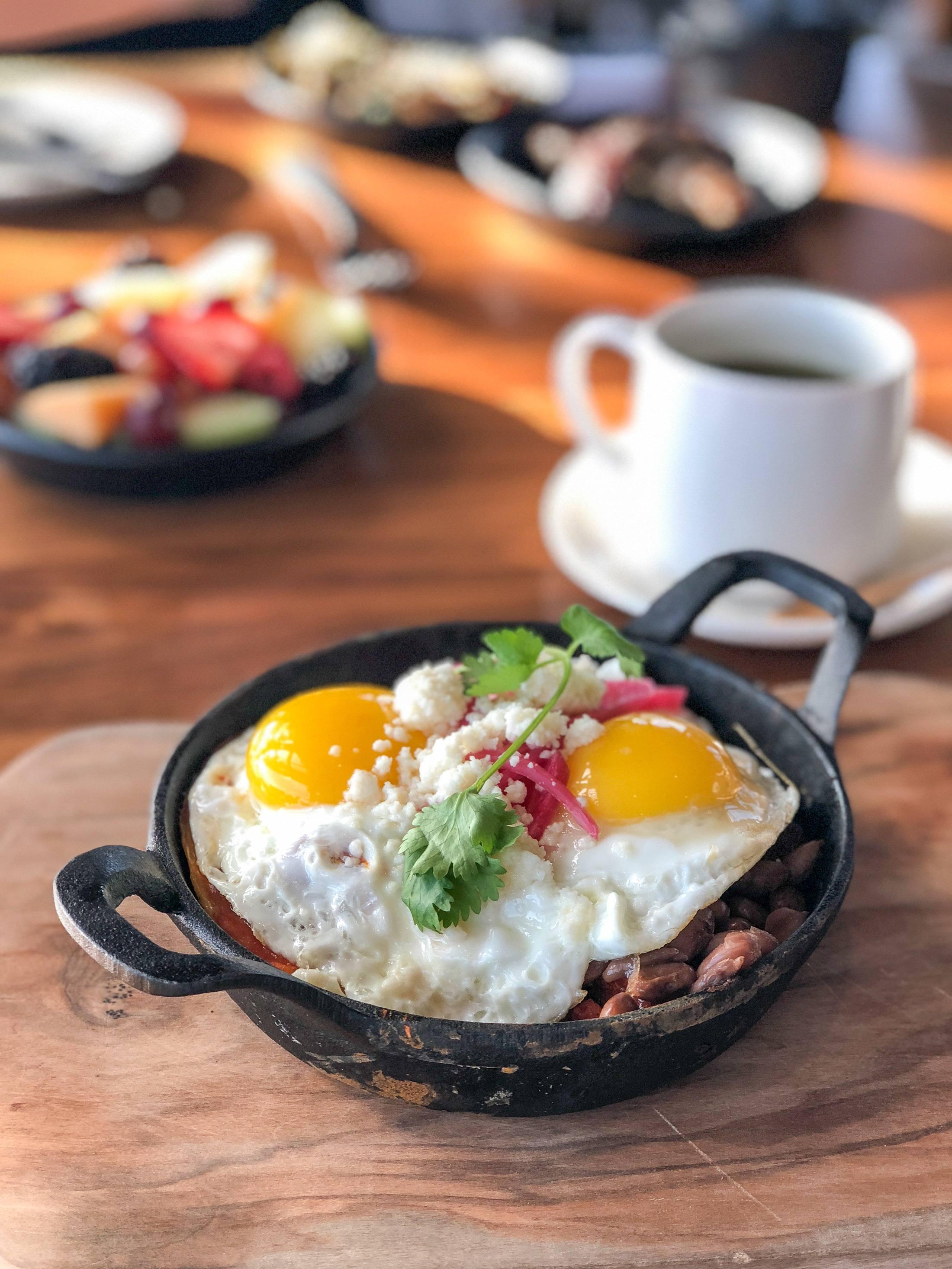 Huevos Rancheros at Hotel Chaco in Albuquerque for breakfast.