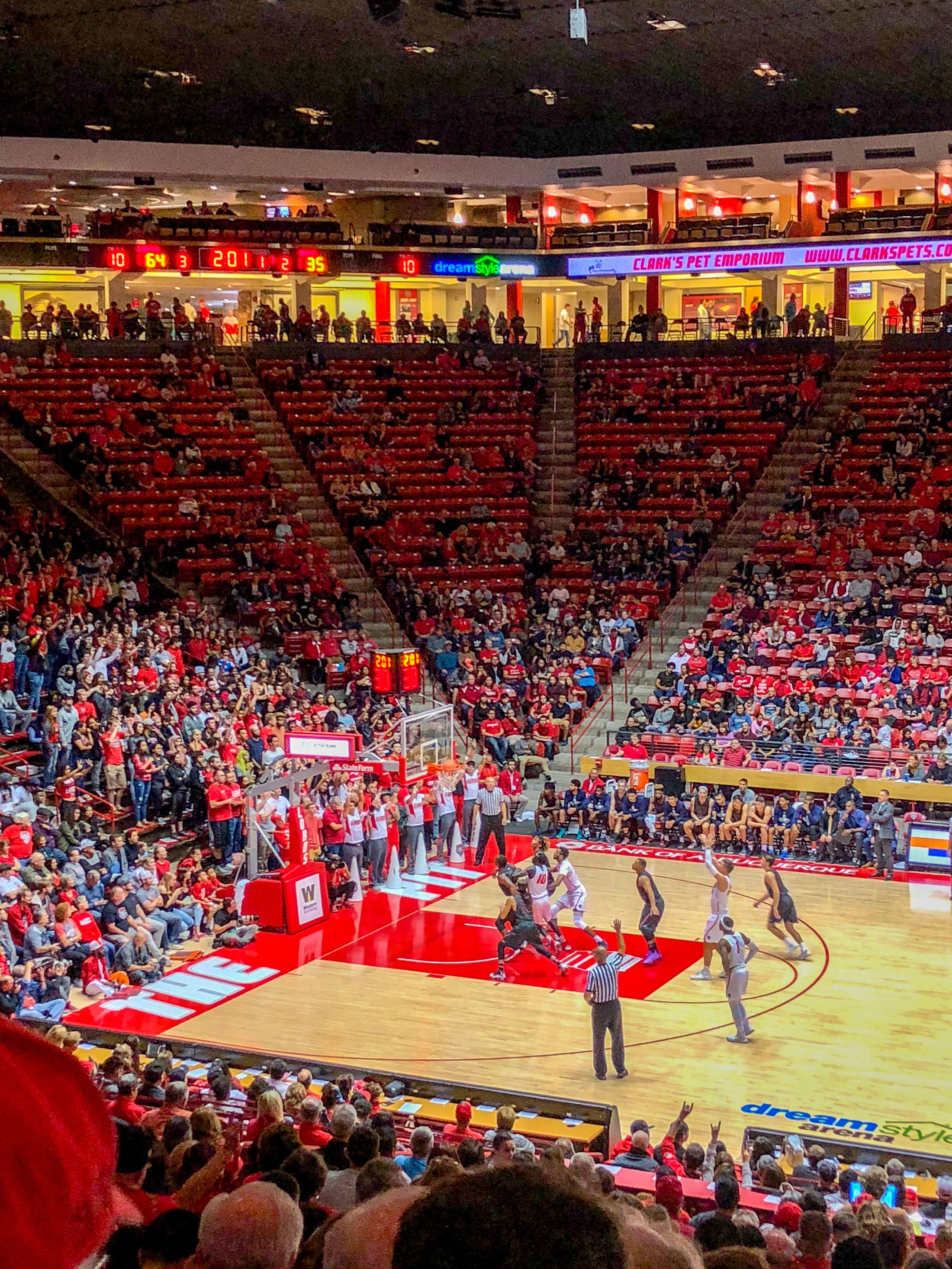 A fun thing to do in Albuquerque is go to a Lobos Men's Basketball game.