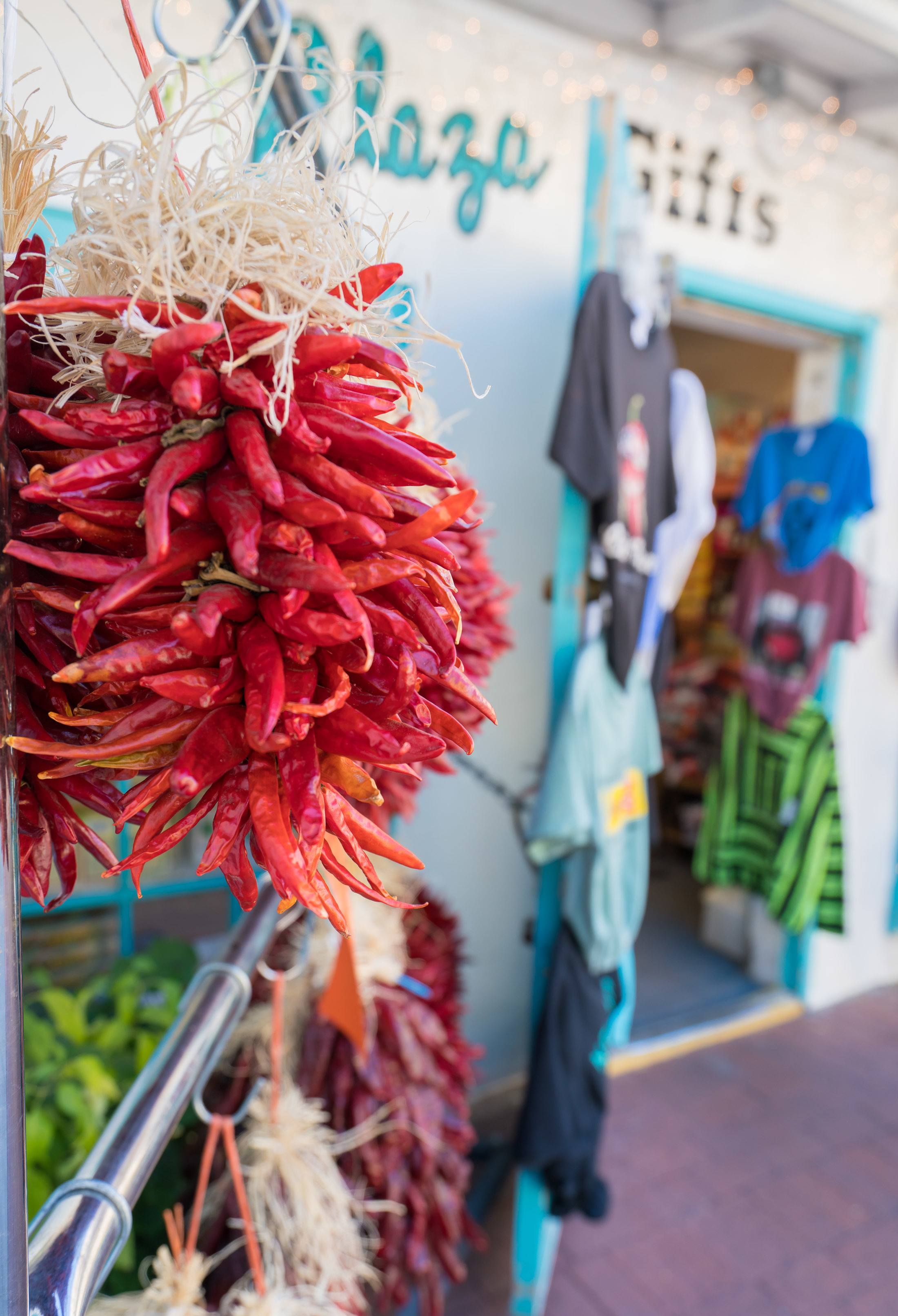 Dried red chilis hanging at a store in Old Town Albuquerque.