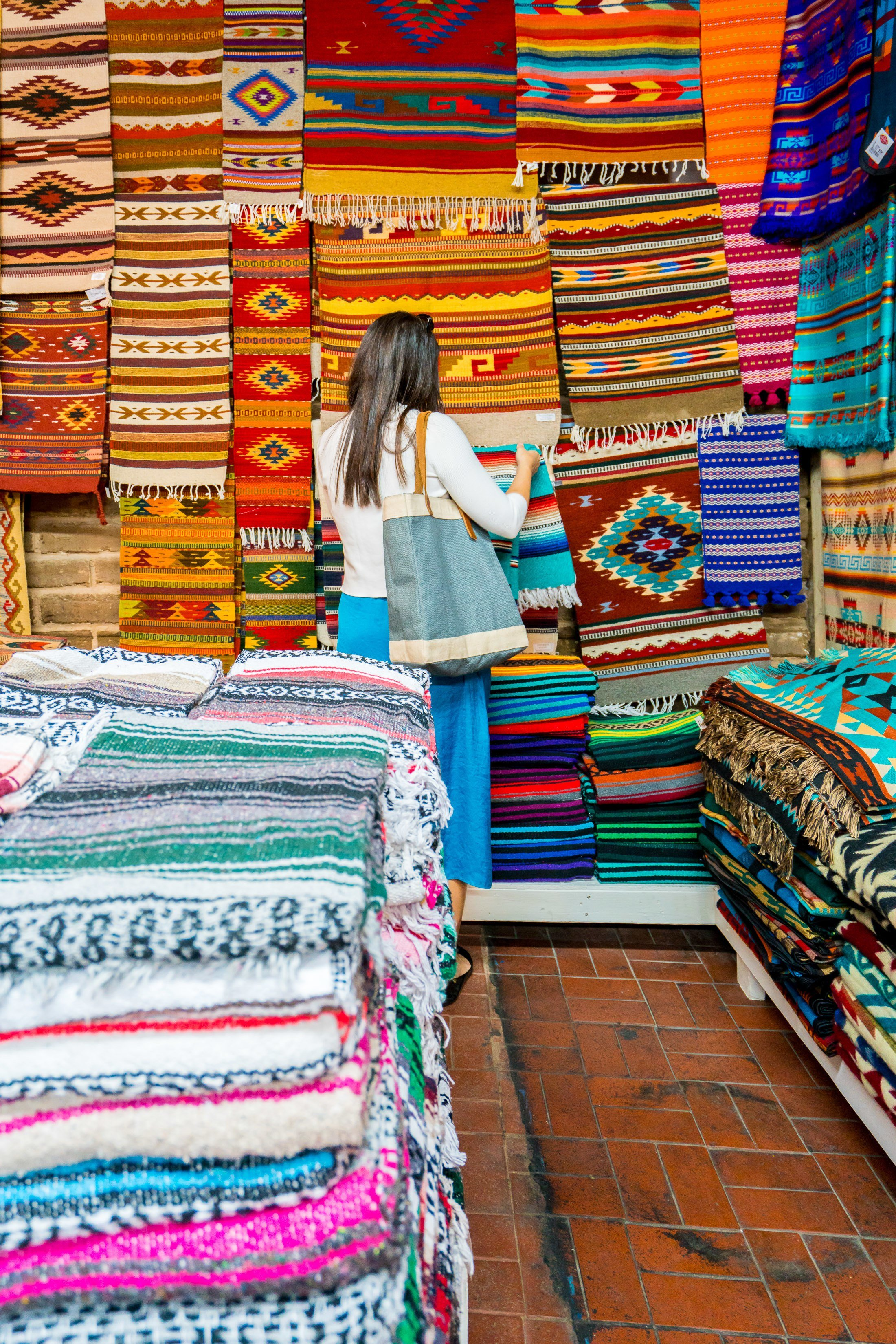 Shopping for blankets in Old Town Albuquerque.