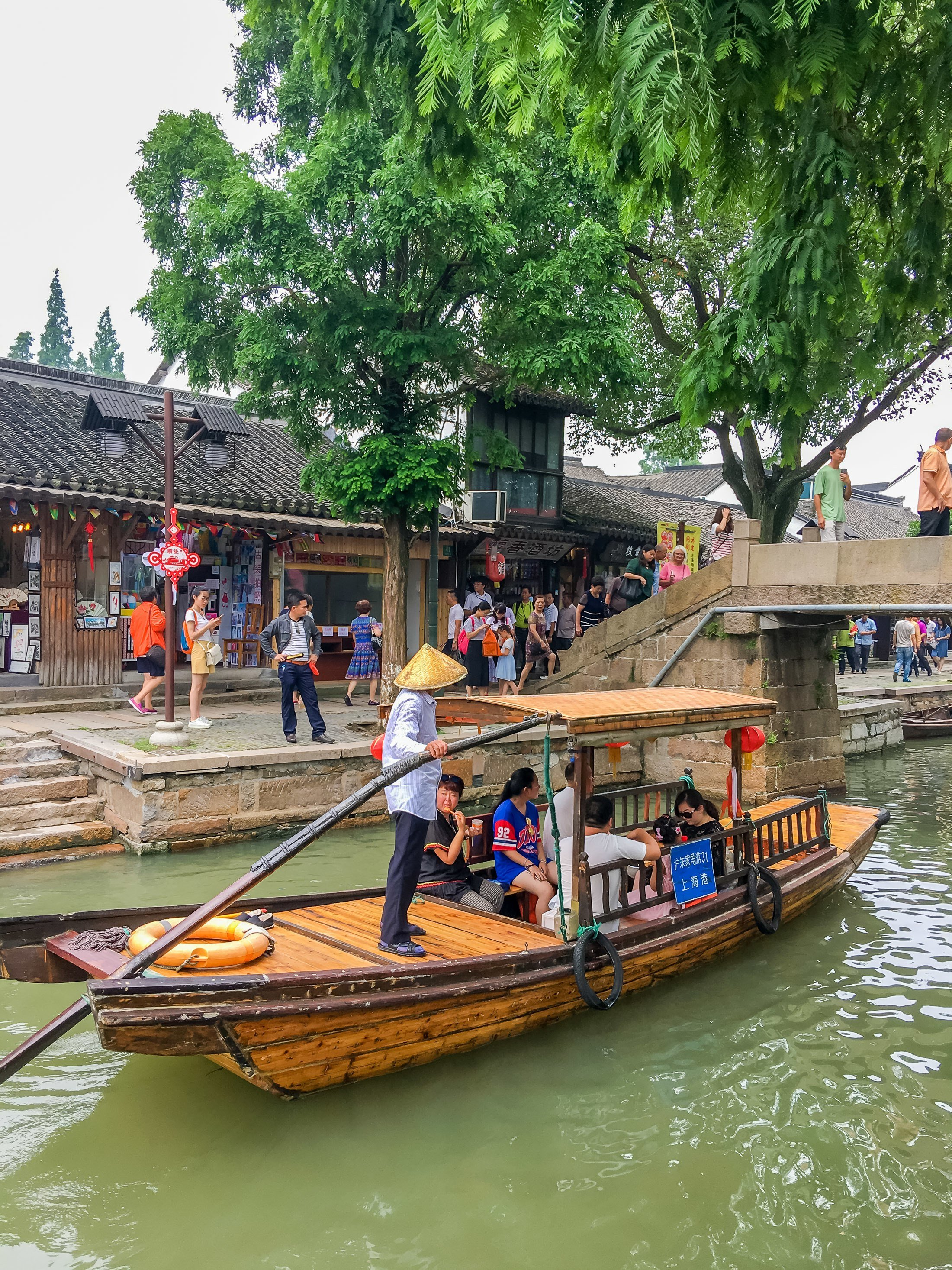 Zhujiajiao ancient water town is a good day trip from Shanghai with kids.