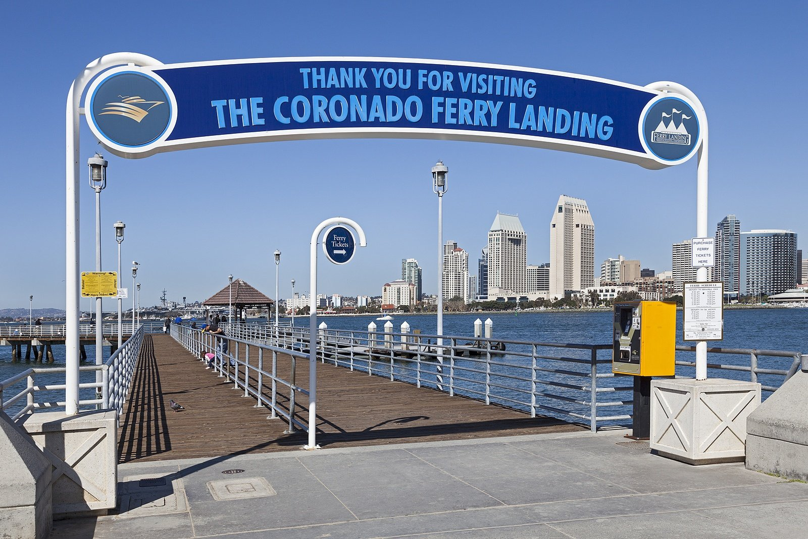 The Coronado Ferry Landing beach is right next to the pier.
