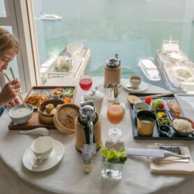 Room service breakfast at Four Seasons Hotel Hong Kong.