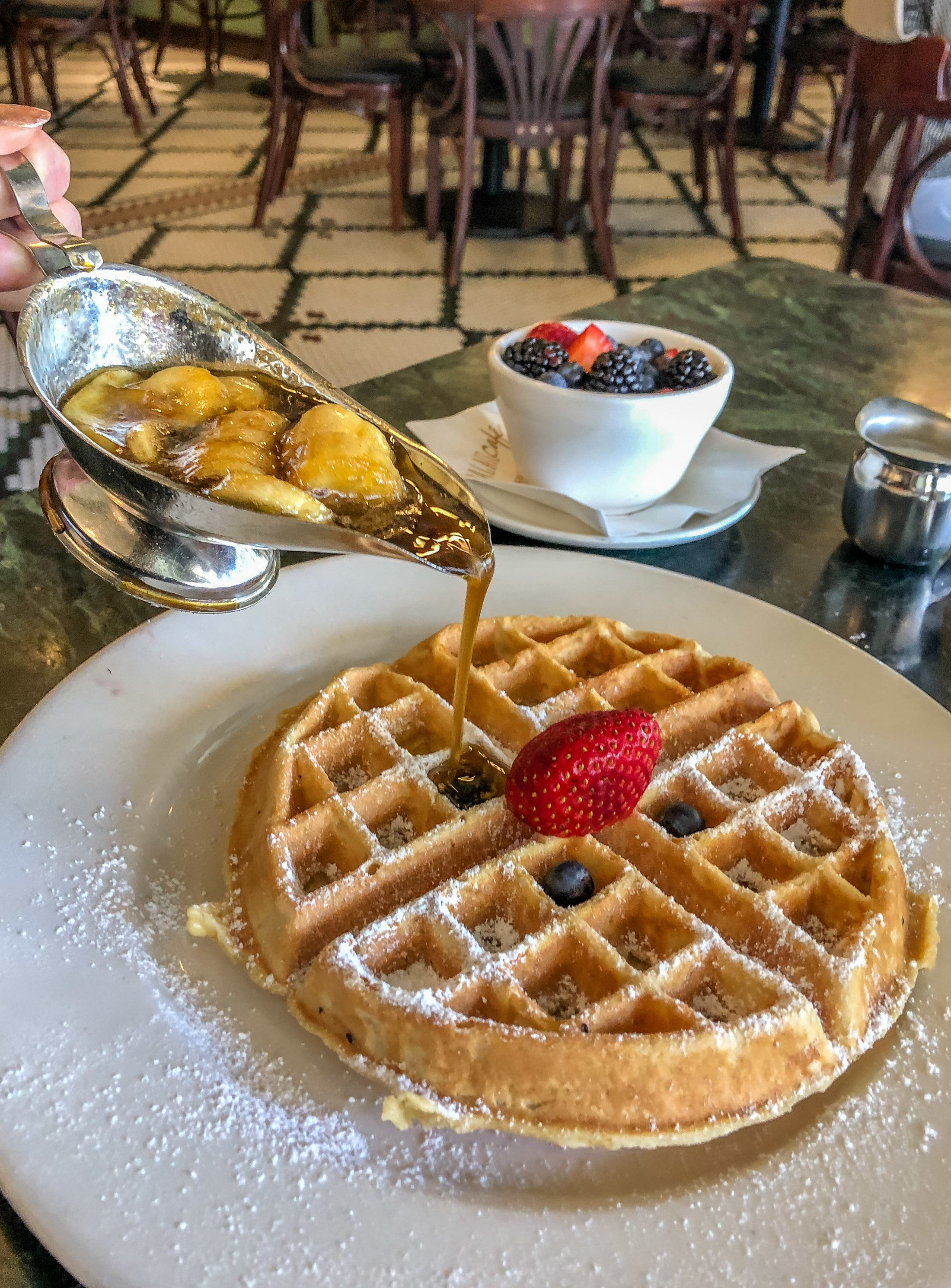 Palace Cafe in New Orleans serves bananas foster waffles.