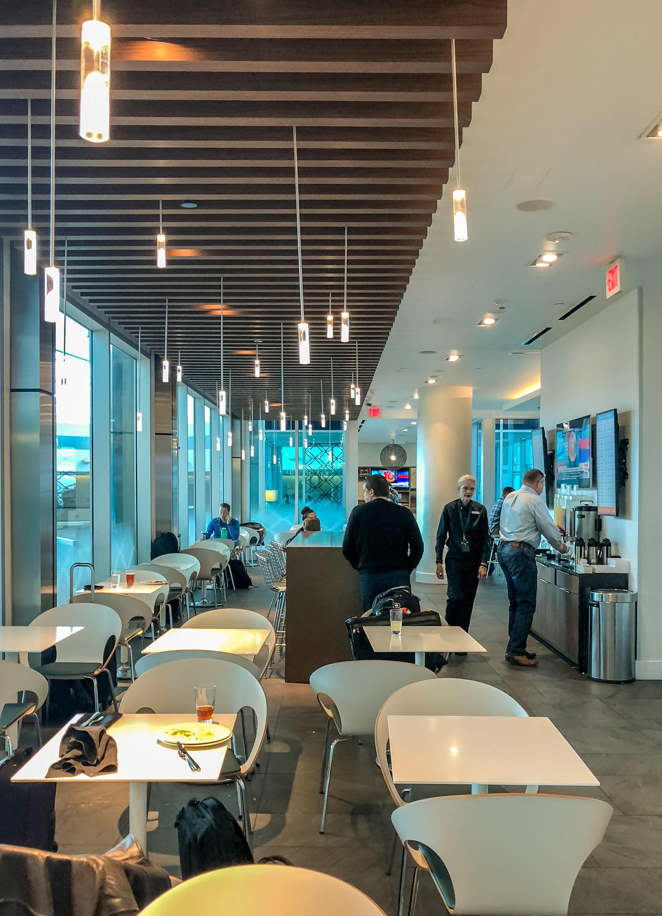 The DFW American Express Centurion Lounge dining area.