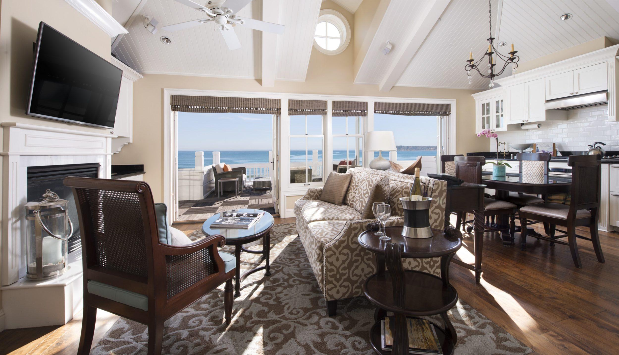 View of the ocean through the windows of a designer Beach Village residence, a San Diego beach hotel.