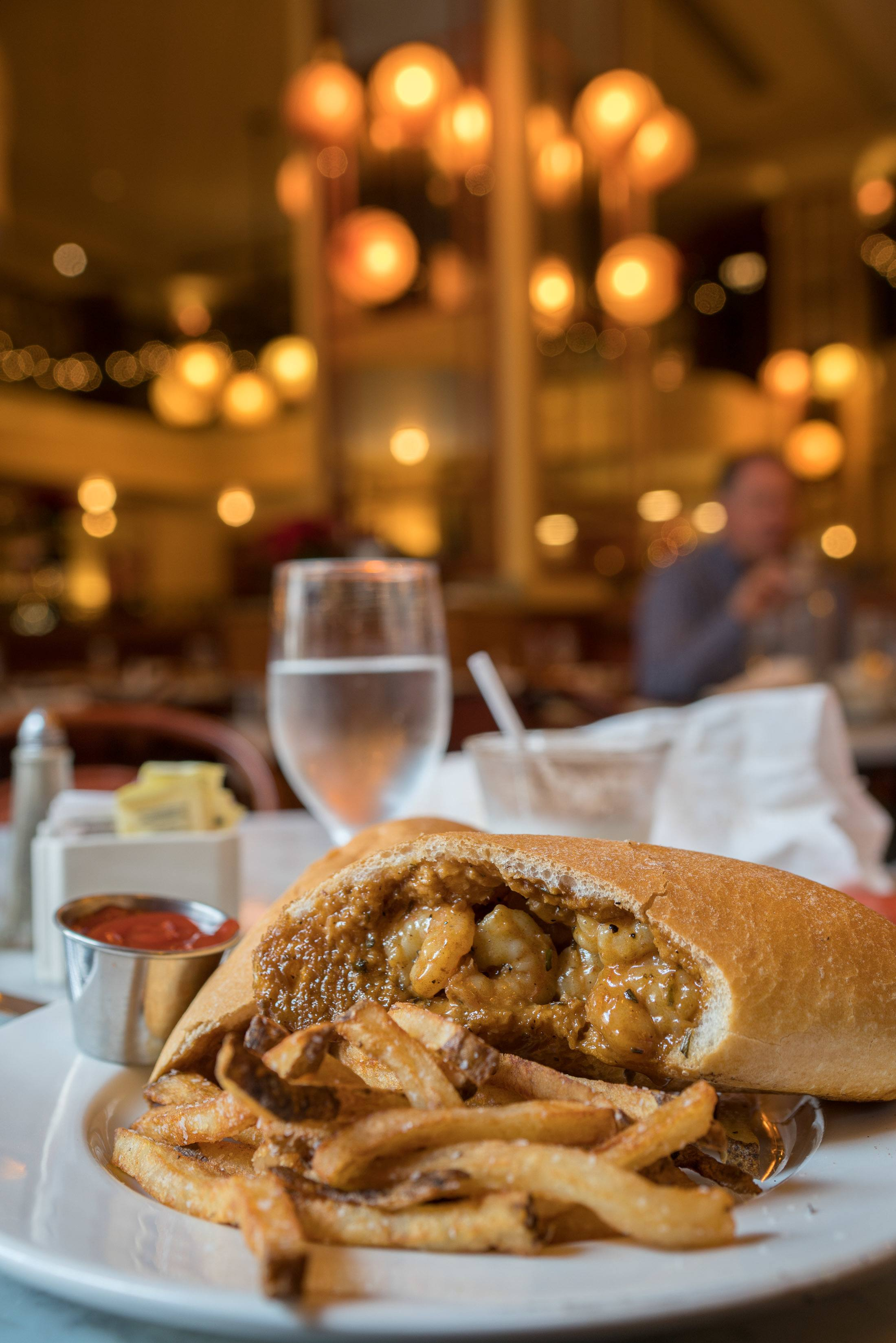 The barbecue shrimp po'boy at Bourbon House in New Orleans.