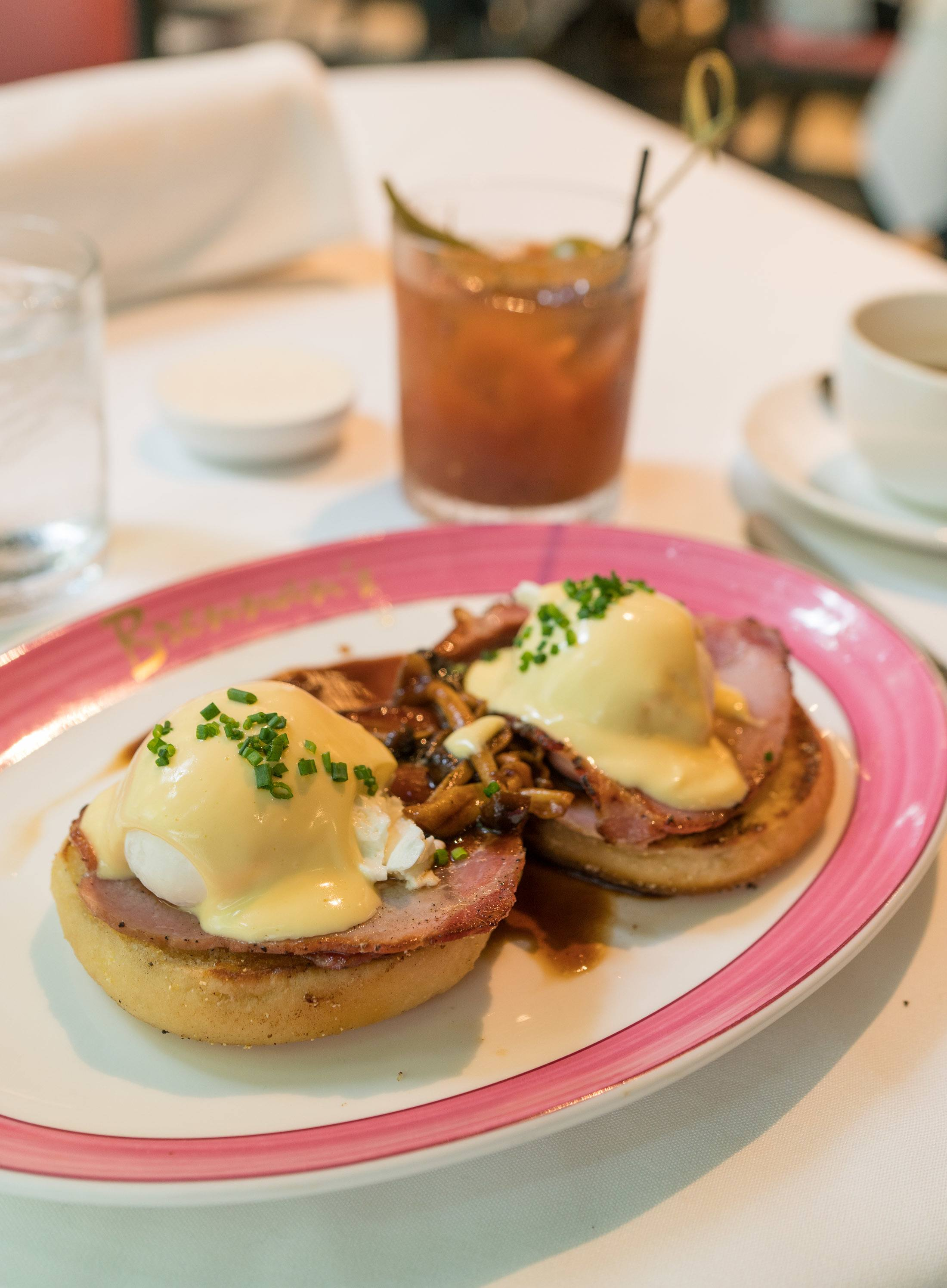 Brennan's famous Benedict served alongside a pickled okra Bloody Mary.