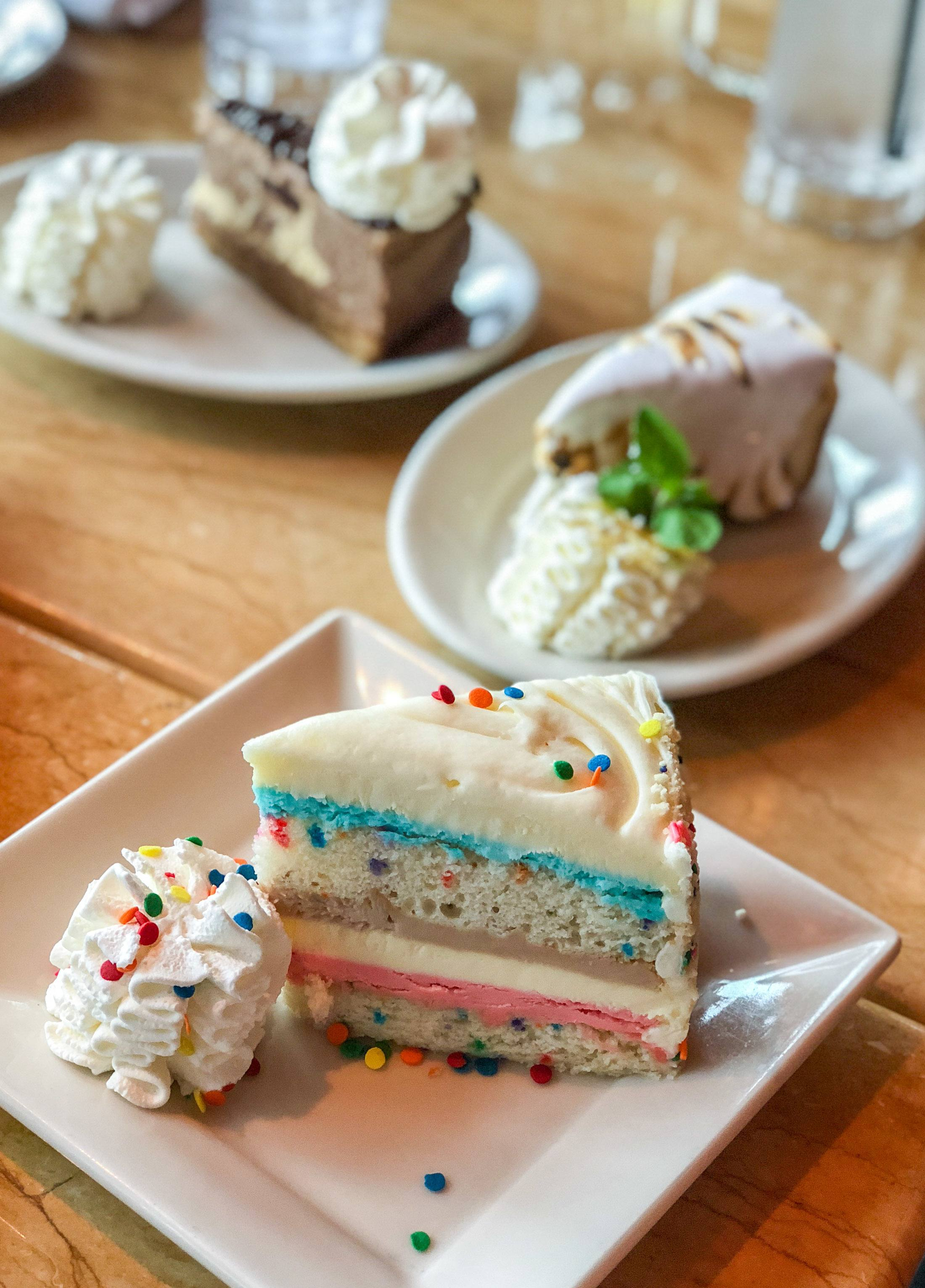 Celebration Cheesecake and other desserts at The Cheesecake Factory