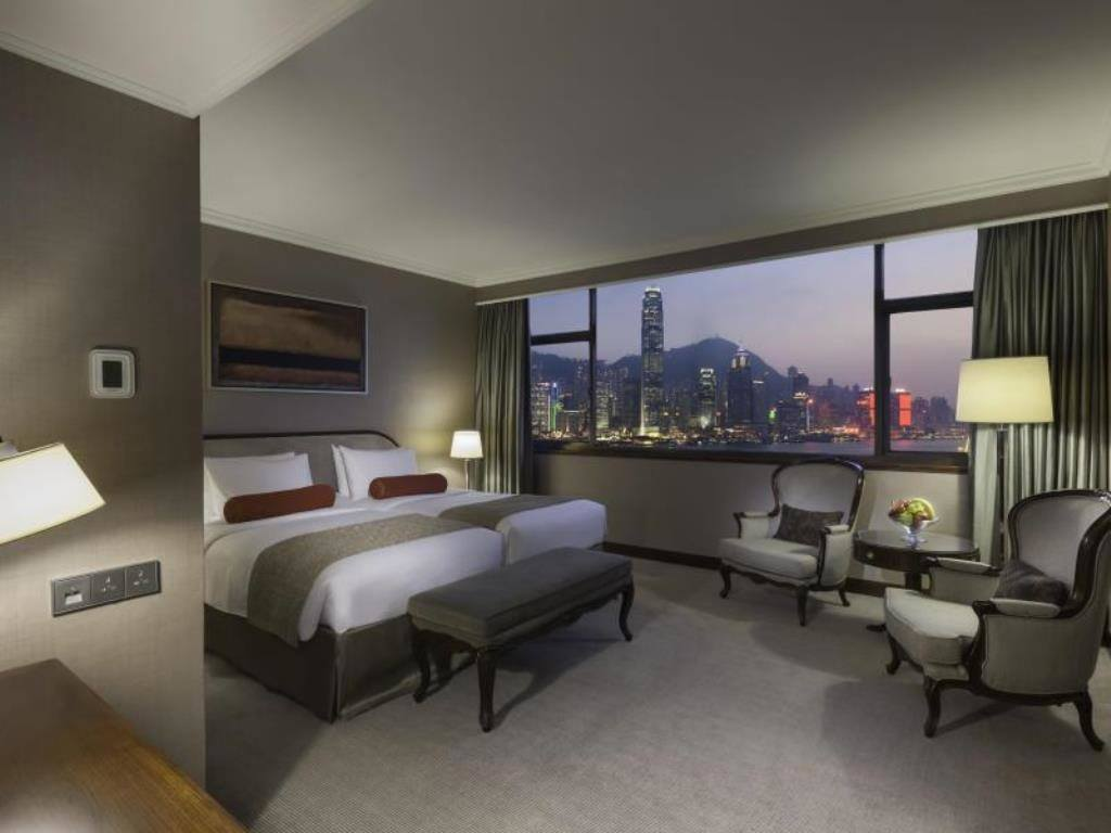 The Deluxe Harbour View Room at Marco Polo Hong Kong hotel.