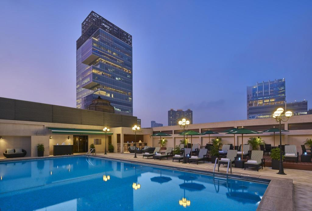 The pool at Holiday Inn Golden Mile, a four-star Hong Kong hotel.