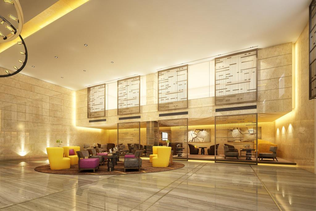 The lobby at Holiday Inn Golden Mile, a four-star Hong Kong hotel.