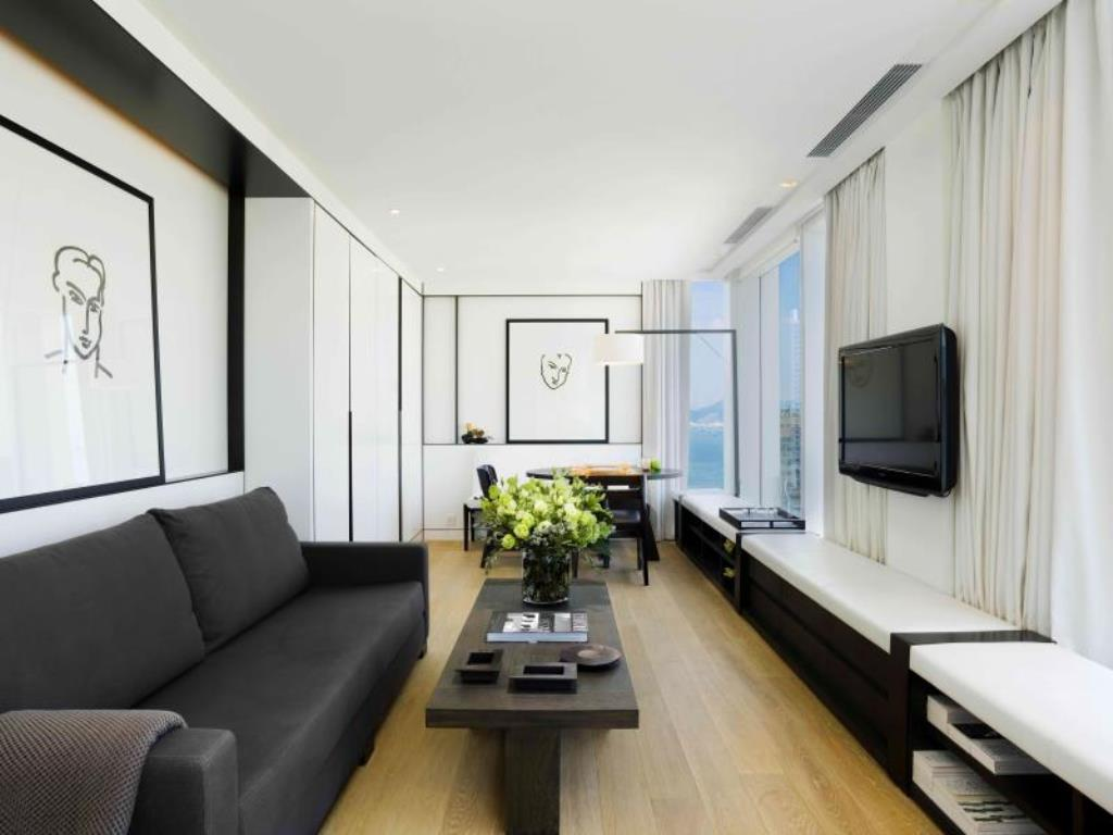 A suite living room at The Jervois, a Hong Kong boutique hotel.