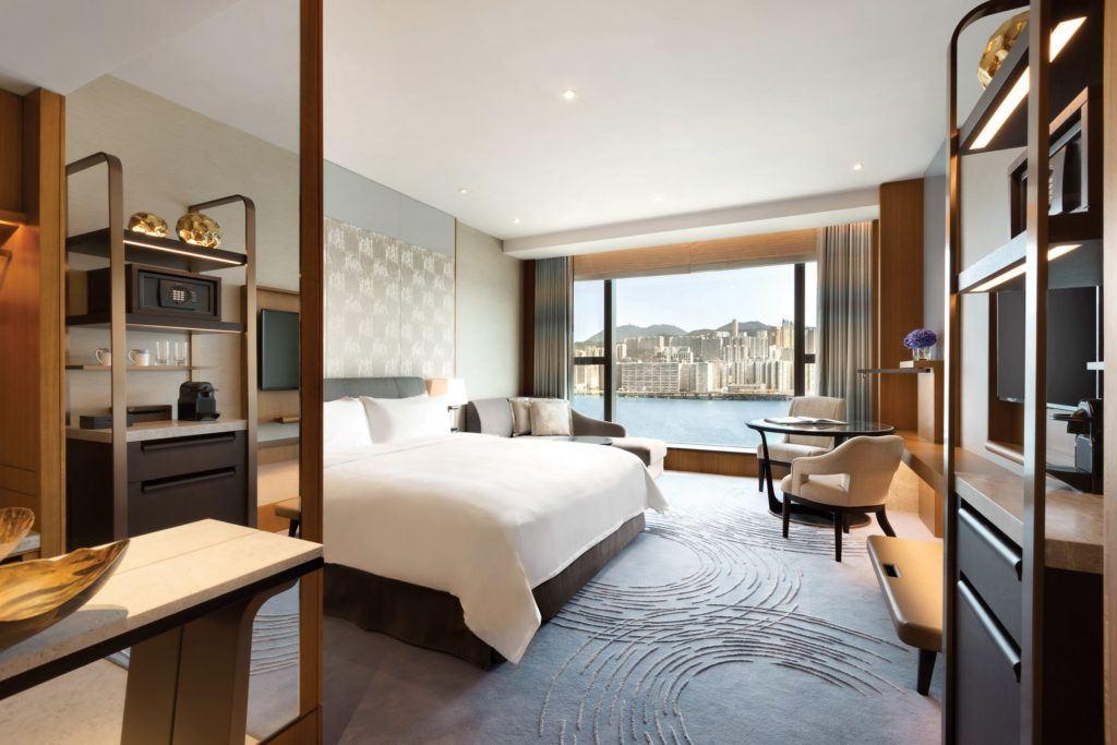 A Deluxe Sea View Room at Kerry Hotel Hong Kong.