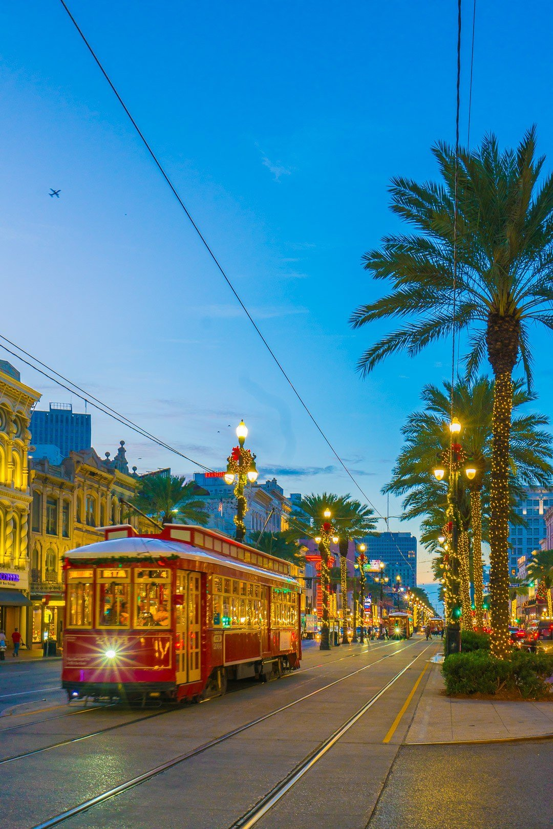 A New Orleans street car at night.