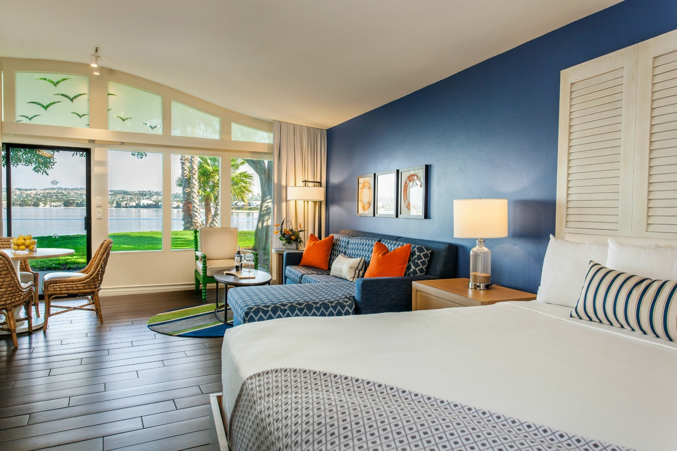 A suite at Paradise Point Resort, a San Diego beach hotel.