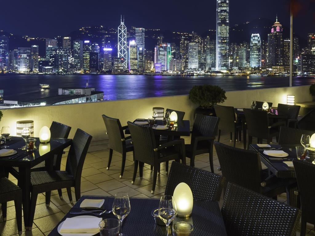 The restaurant terrace at Marco Polo HongKong hotel.