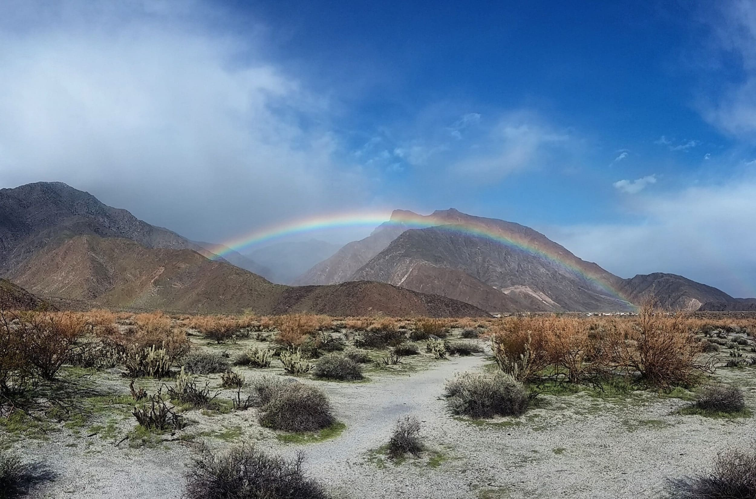 A rainbow over Indian Head Mountain in Anza-Borrego Desert State Park