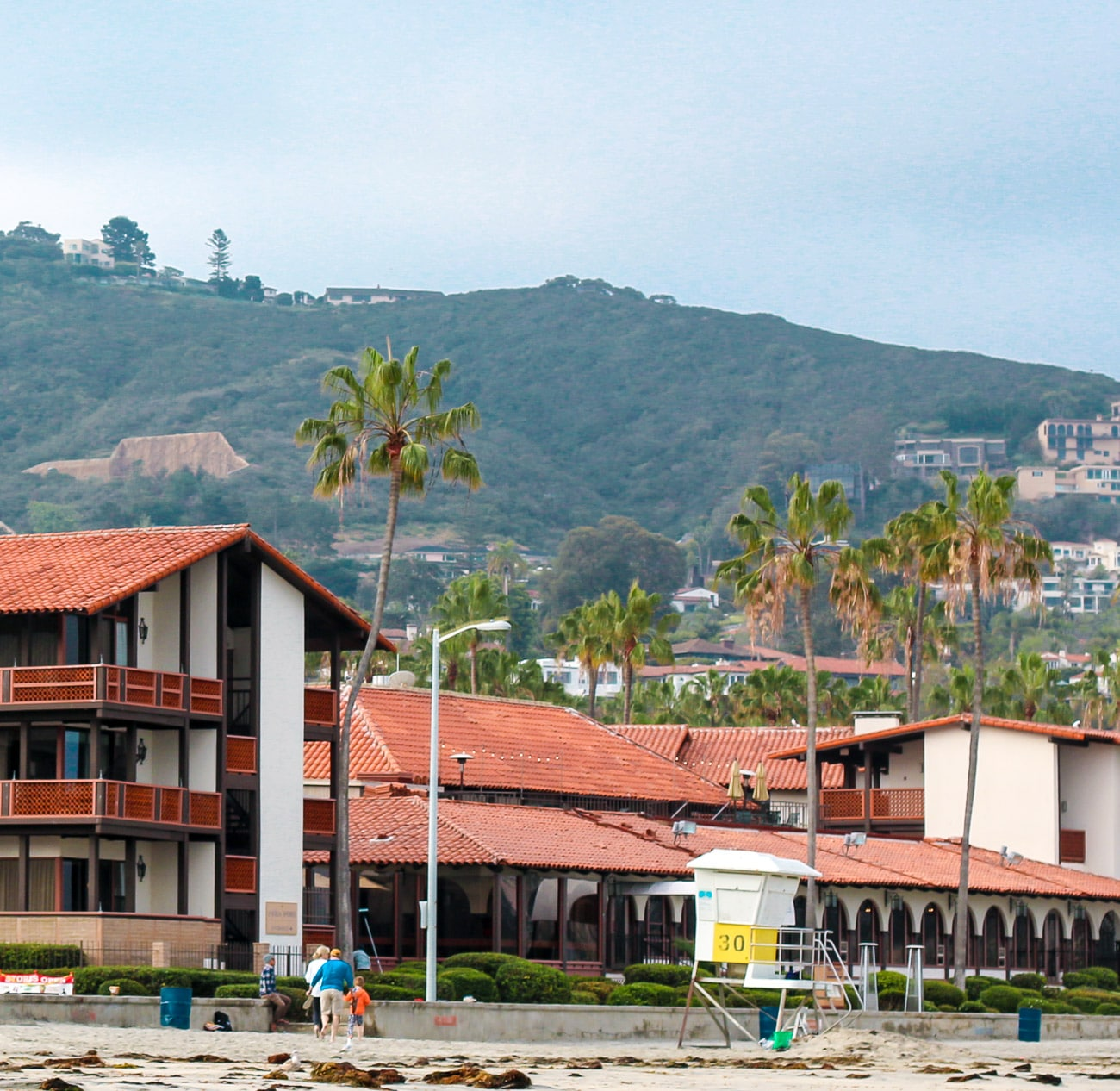 La Jolla Shores Hotel is on the beach in San Diego.