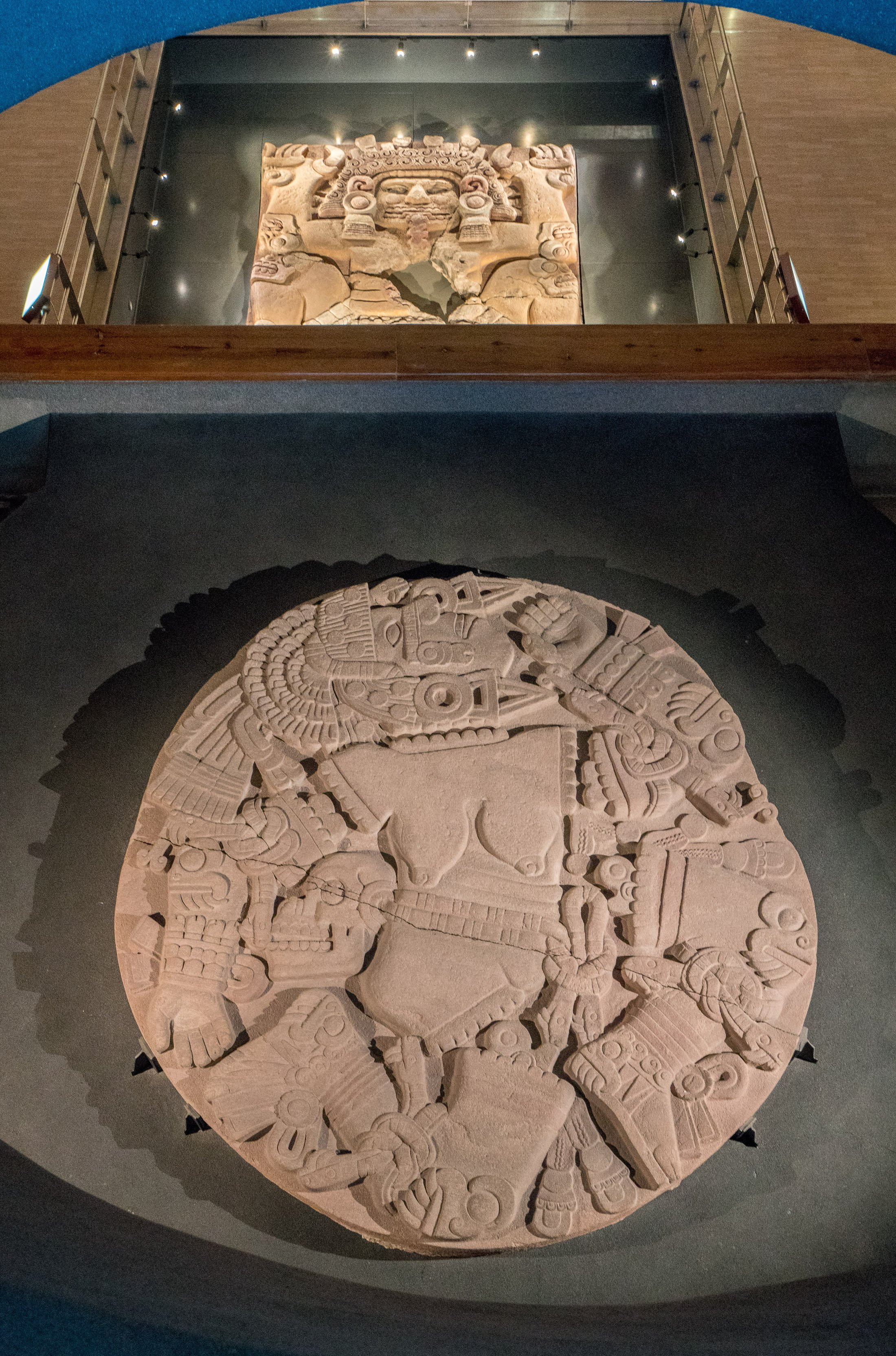 A disk featuring Coyolxauhqui, Huitzilopochtli's sister, inside Museo del Templo Mayor in Mexico City
