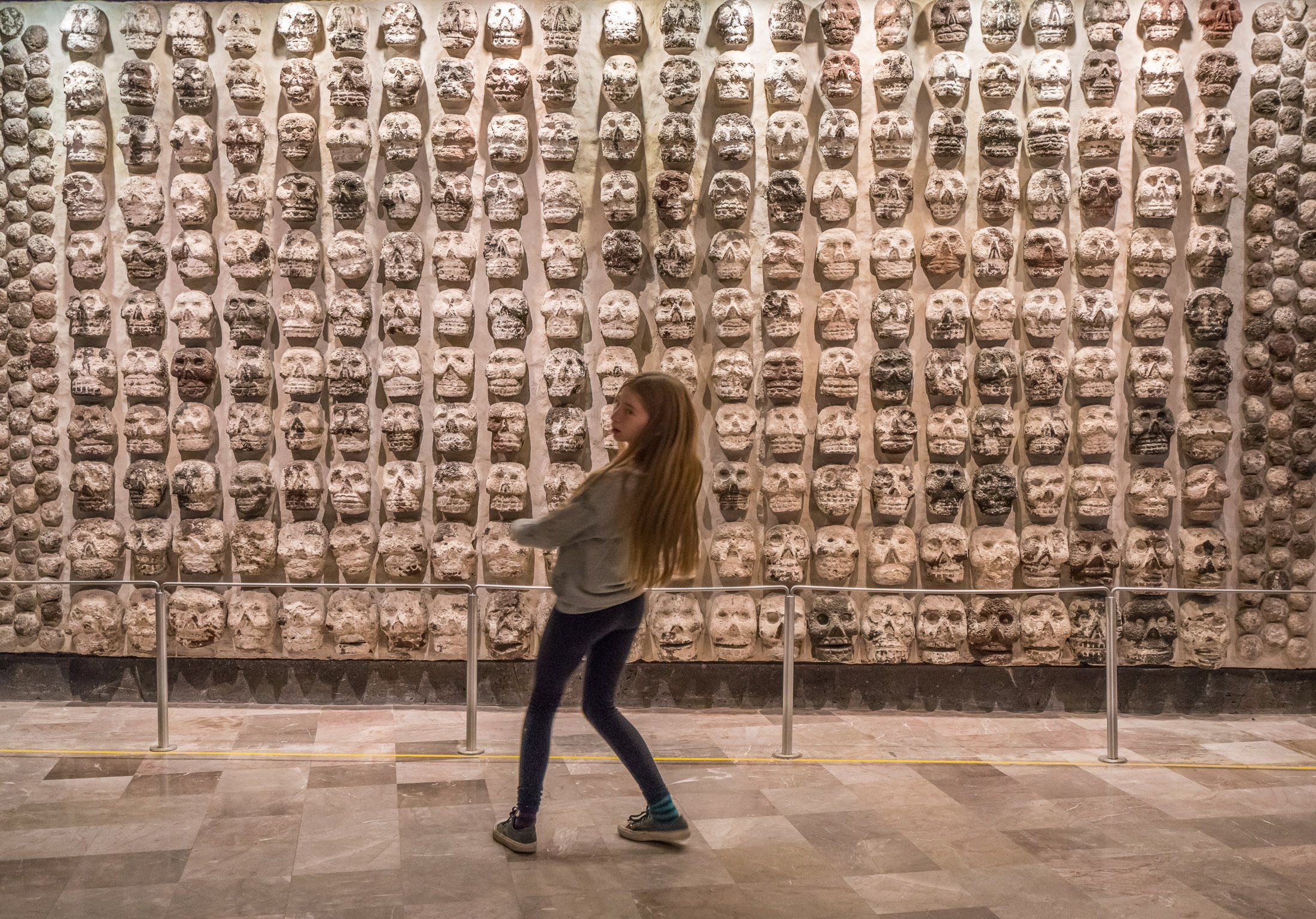 Wall of skulls at the Museo del Templo Mayor in Mexico City