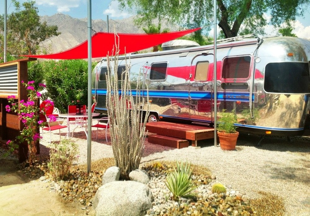 Camp in an Airstream at Palm Canyon Resort at the Anza-Borrego Desert State Park.