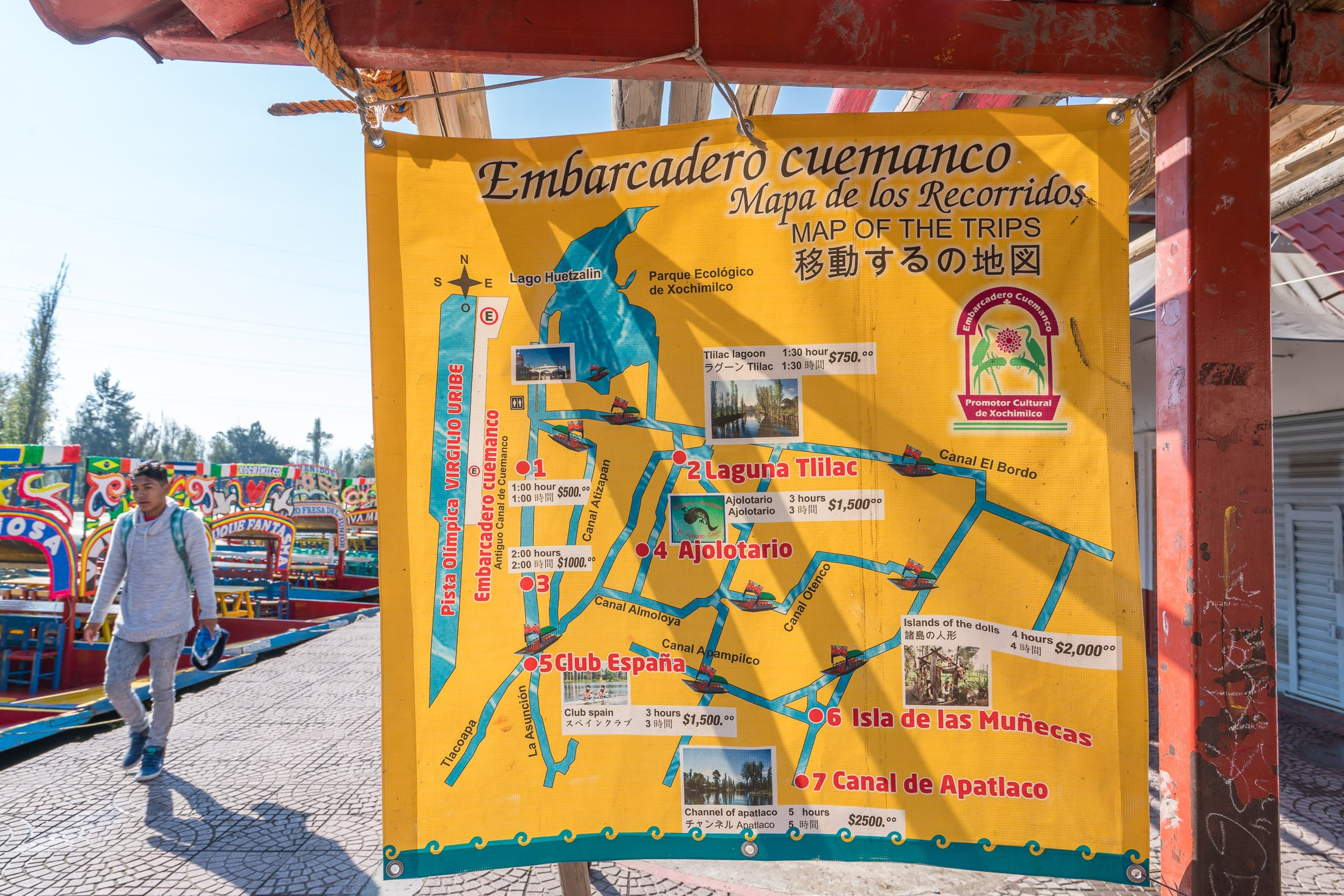 Map of trajinera routes in Xochimilco, Mexico City.