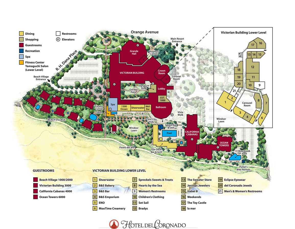Hotel Del Coronado map