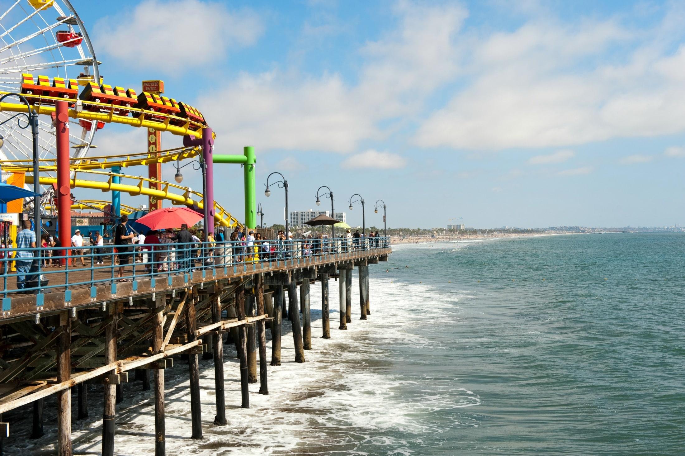 Many family vacations in California happen in Santa Monica on the beach