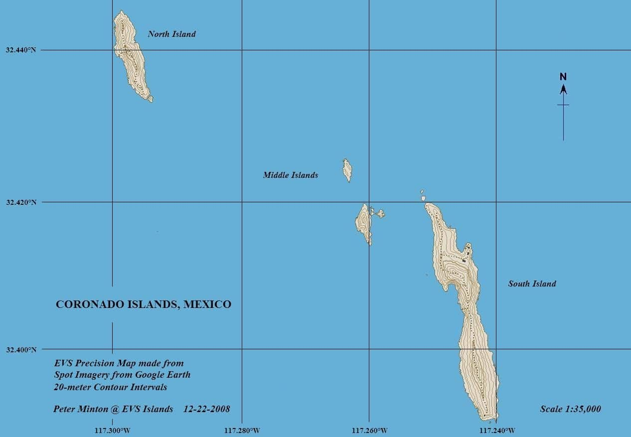 Coronado Islands, Mexico Map
