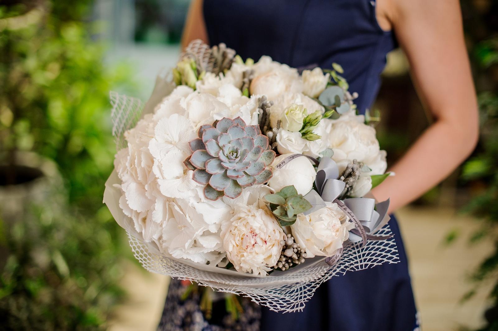 Hydrangea, peony, succulent bouquet