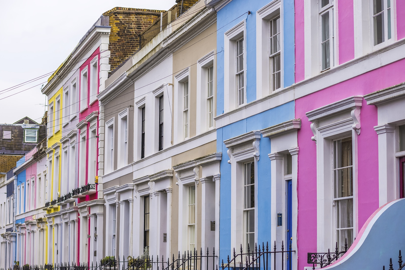Colorful row houses in London's Notting Hill.