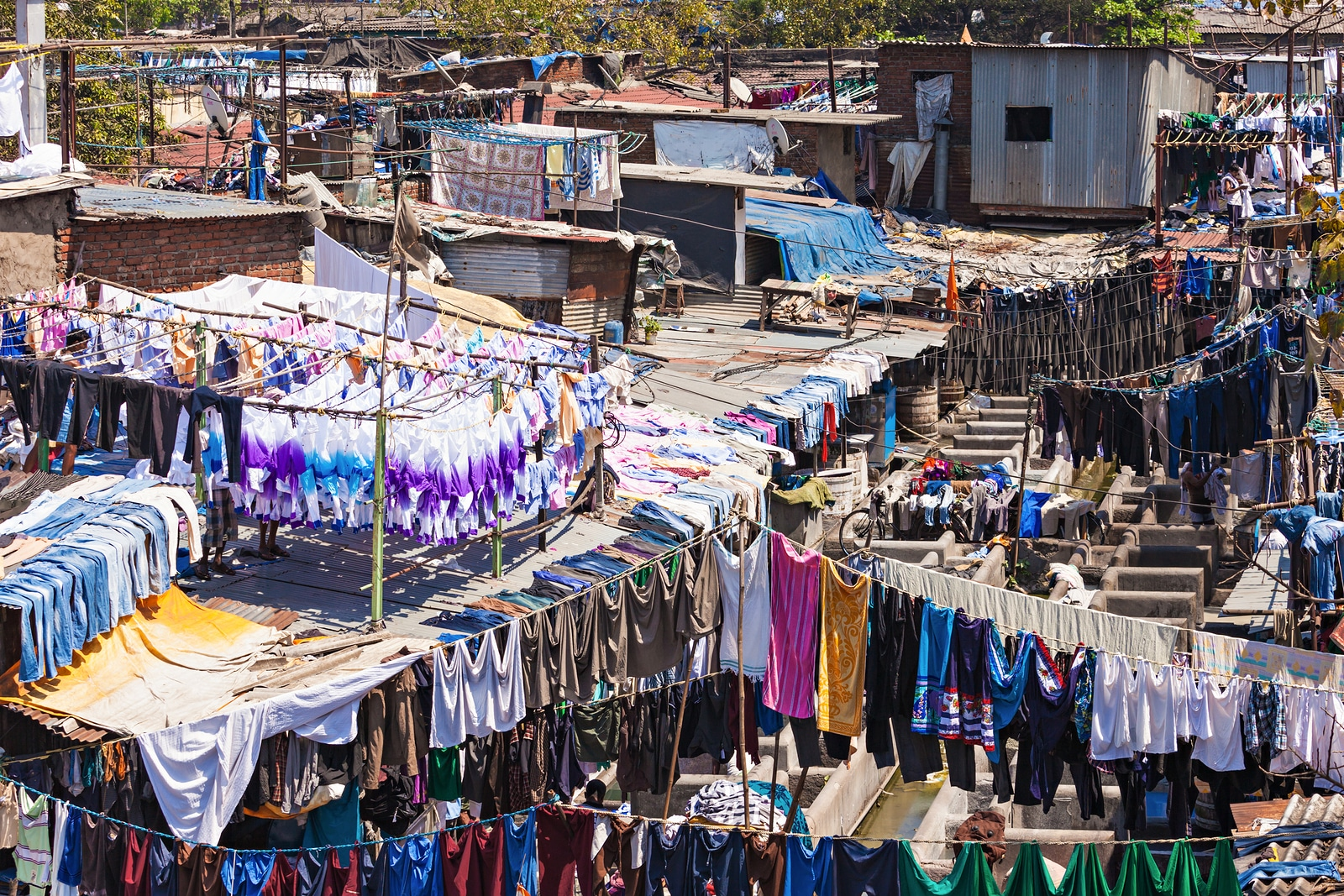 Dhobi Ghat Is A Well Known Open Air Laundromat In Mumbai, India