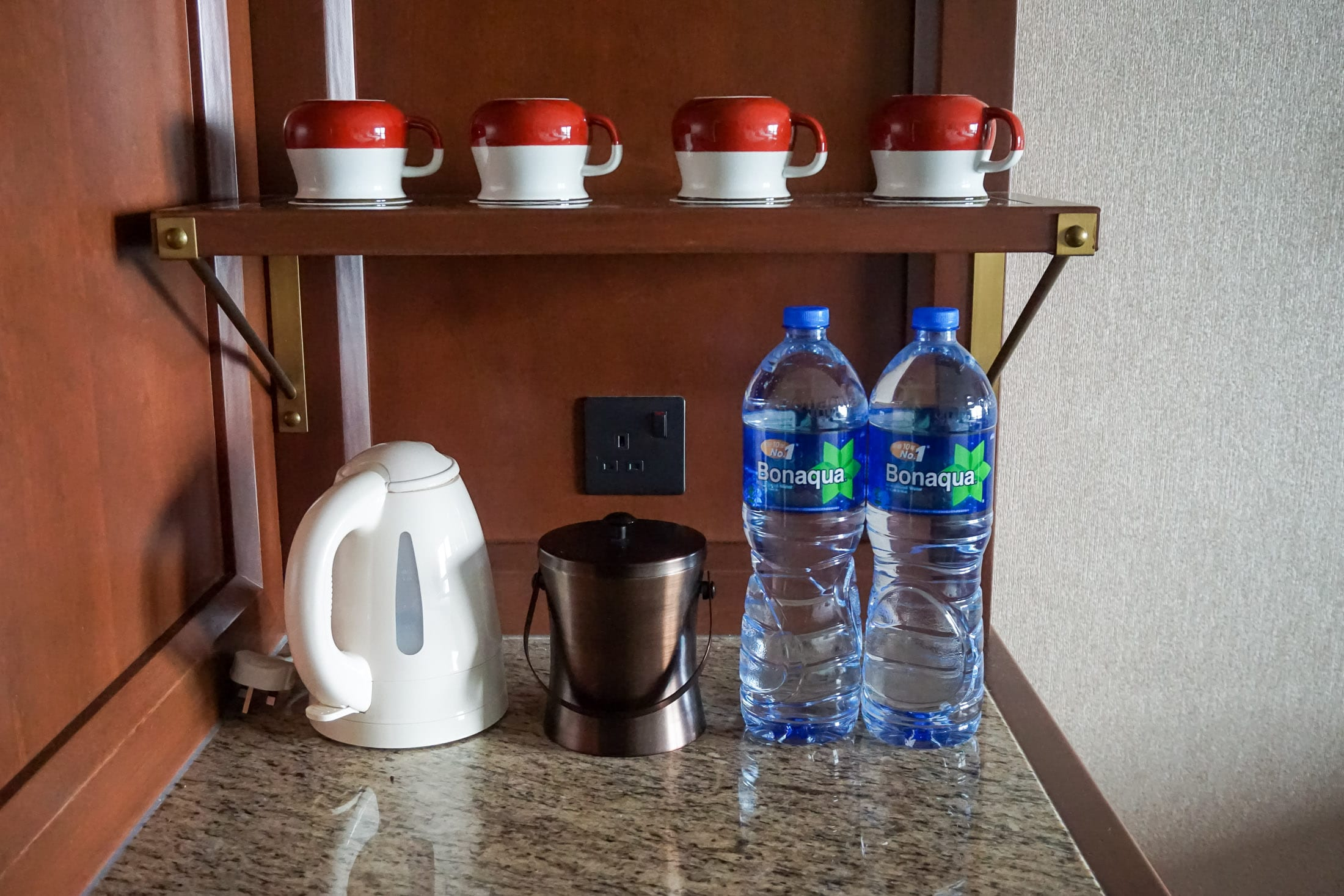 In-room water, coffee and tea at Disney Explorers Lodge hotel at Hong Kong Disneyland
