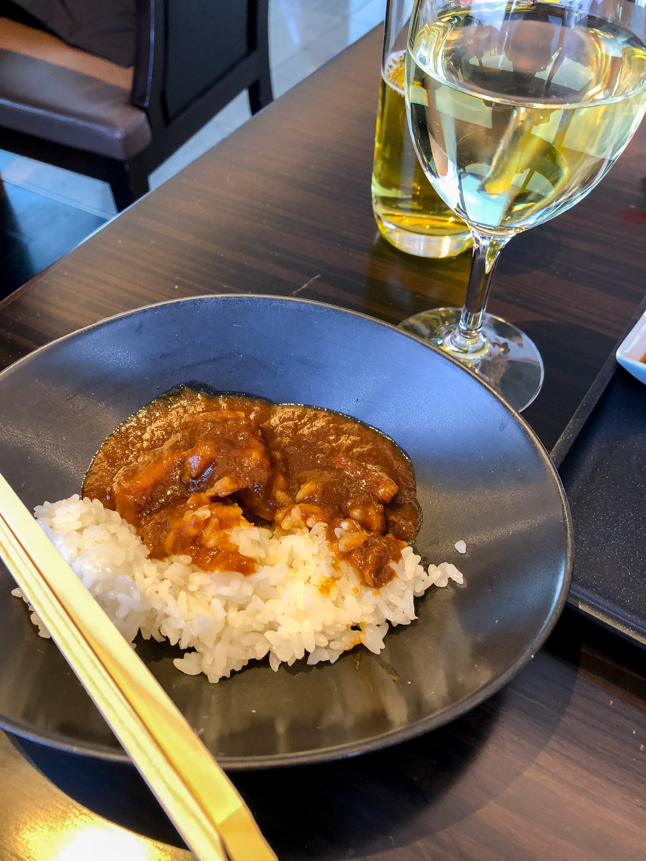 Beef curry at the Japan Airlines First Class Lounge at Tokyo Narita Airport