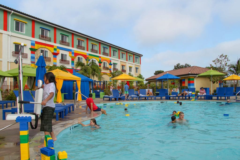 LEGOLAND Hotel pool with floating LEGOs.