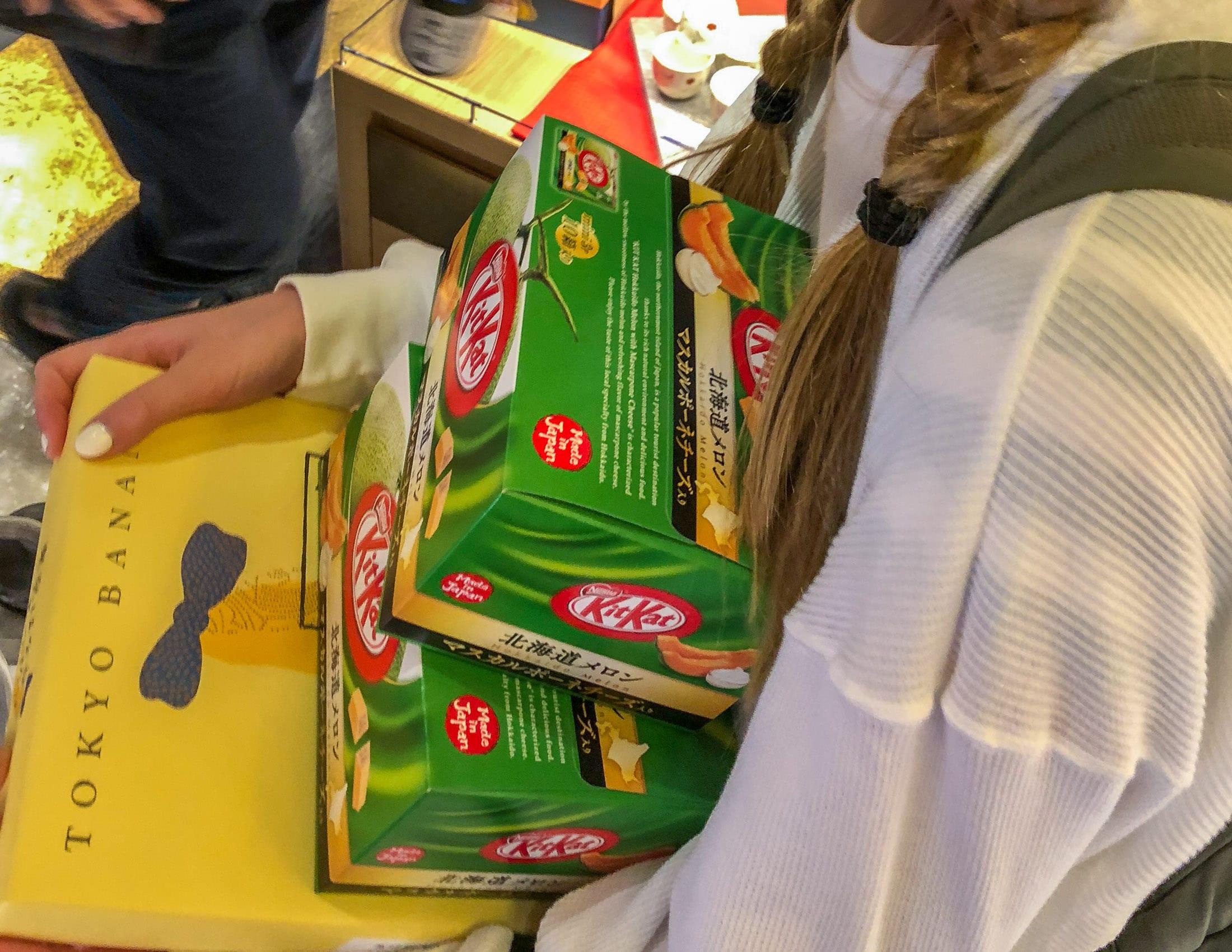 Kit Kats and Tokyo Banana at Tokyo Narita Airport duty free.