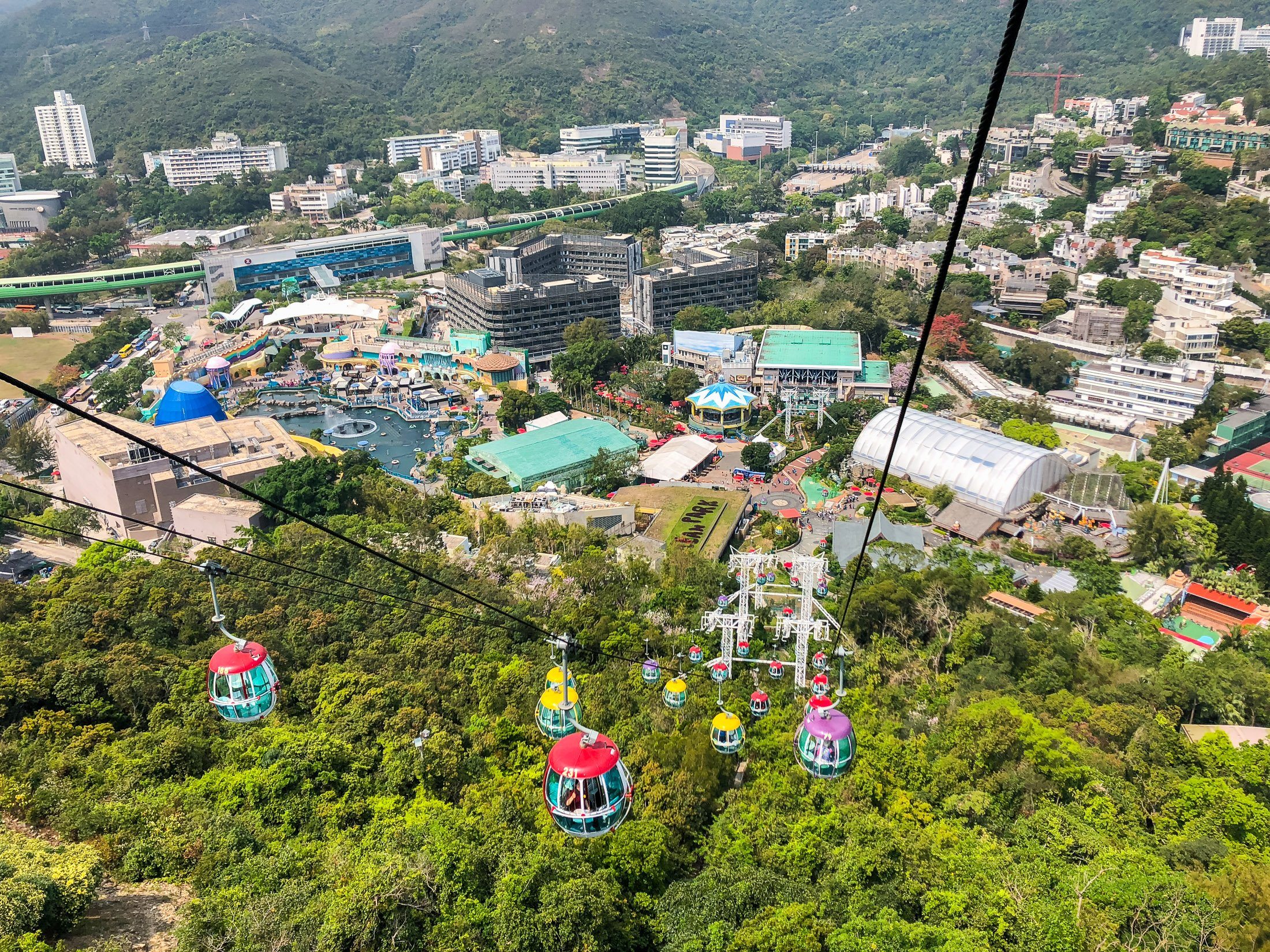 View of The Waterfront from the Ocean Park Hong Kong cable car.