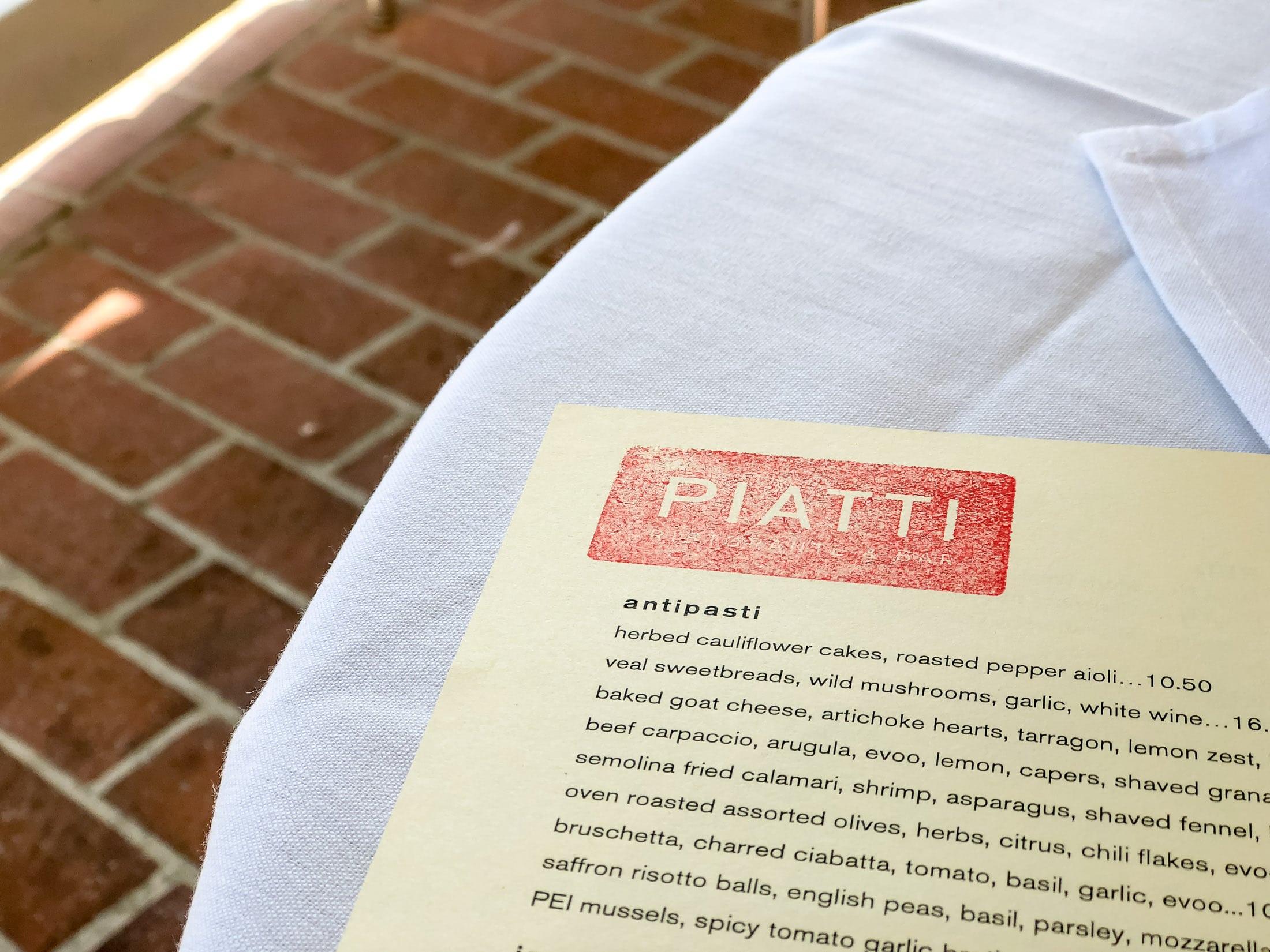 Piatti La Jolla menu