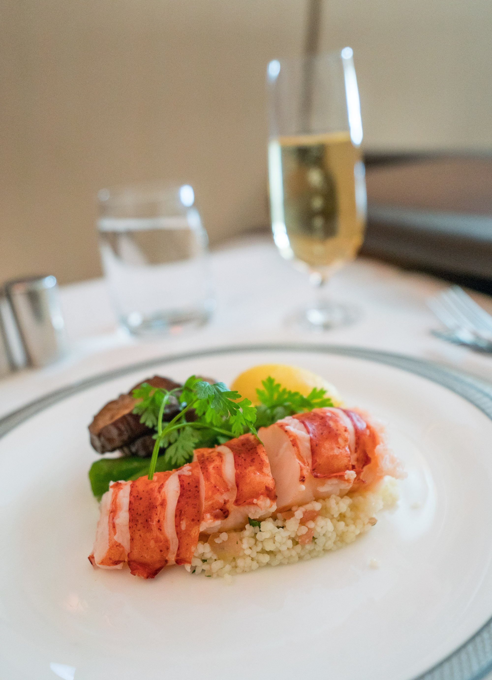 Lobster on Singapore Airlines in a first class suite.