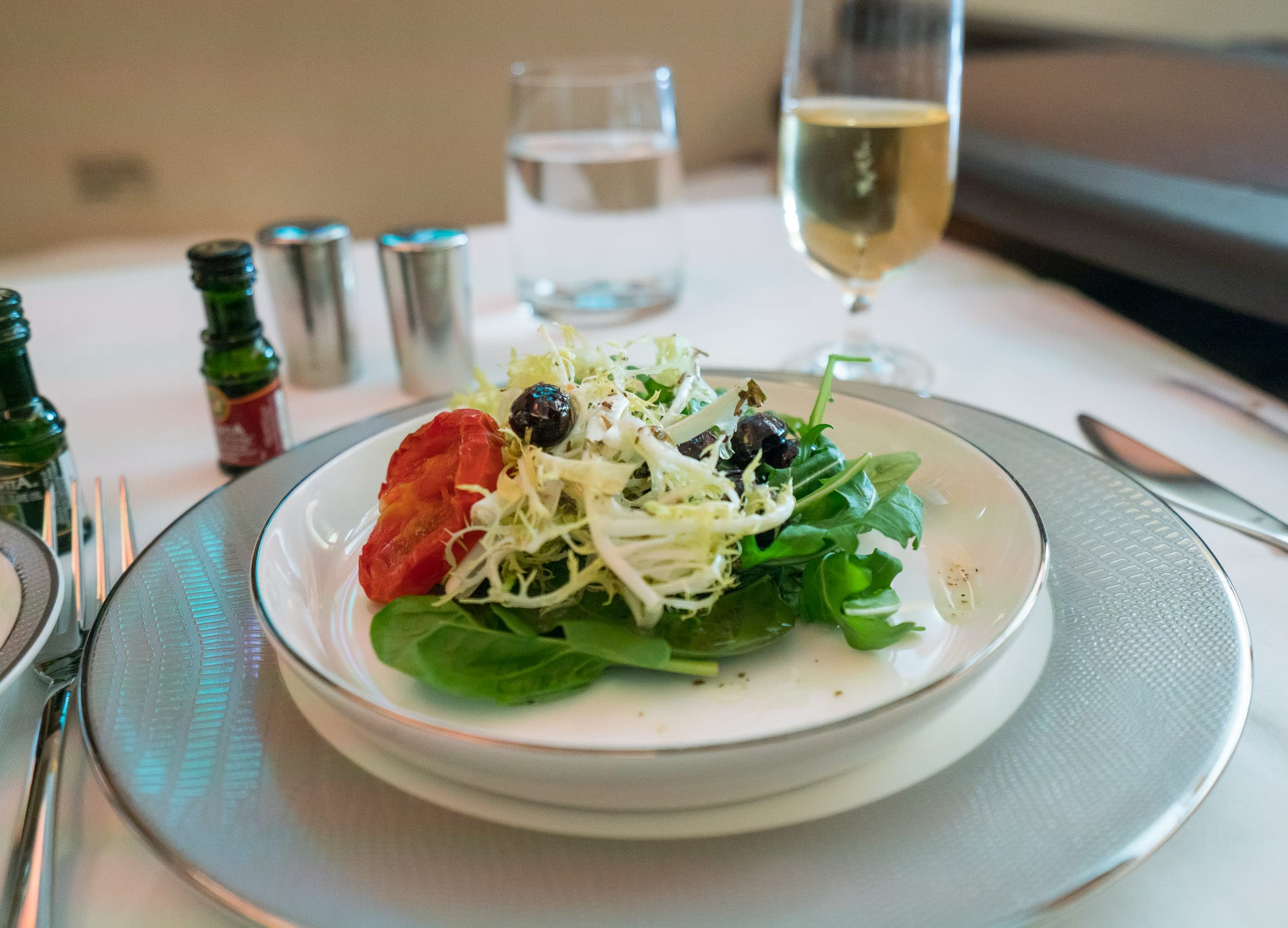 Salad in Singapore Airlines first class suites