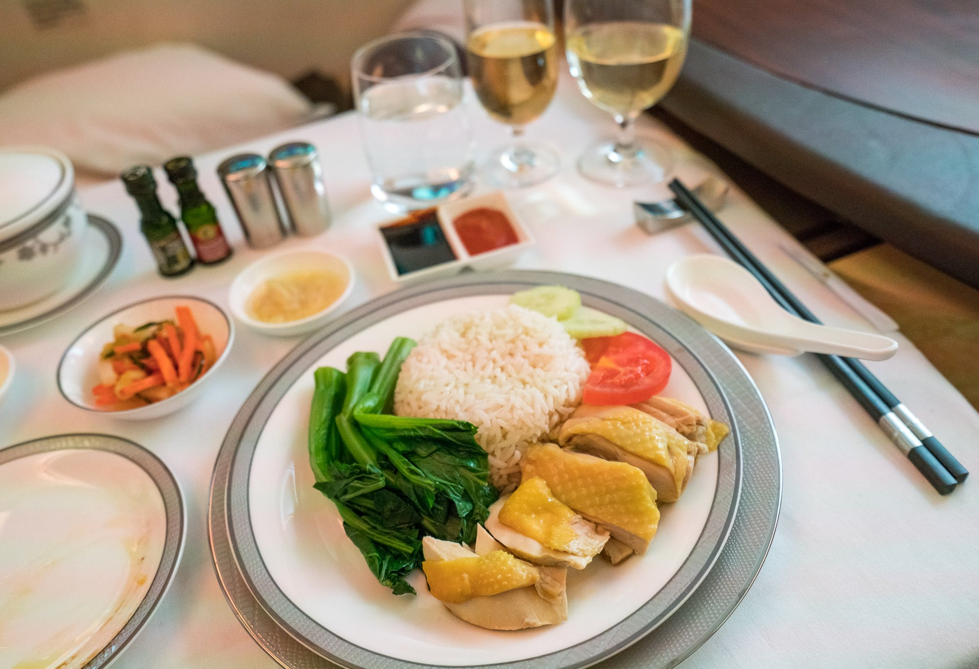 Singapore Airlines first class suite Hainanese chicken rice